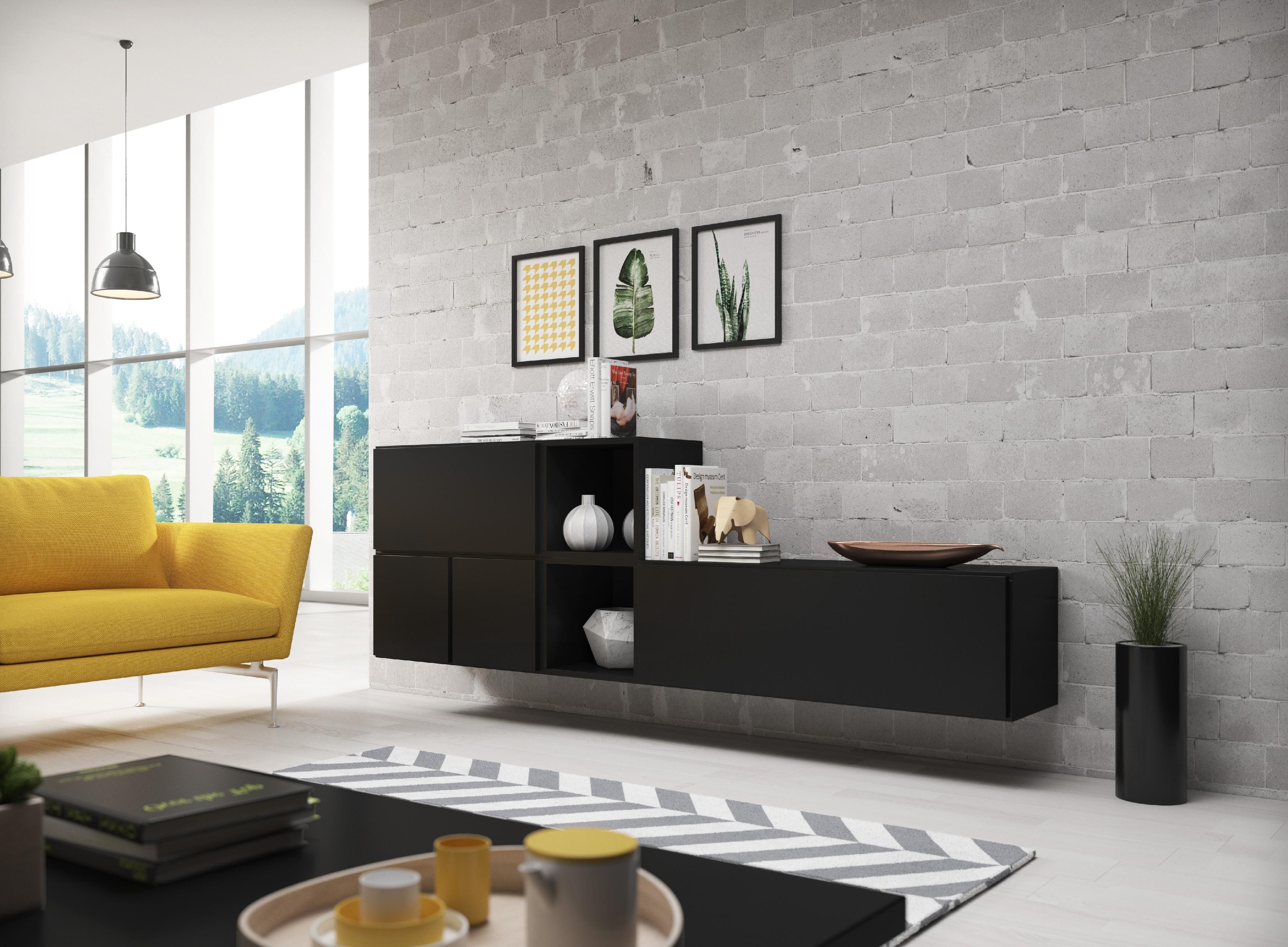 Artcam Obývacia stena ROCO 9 roco: korpus čierny mat / okraj čierny mat / dvierka čierny mat