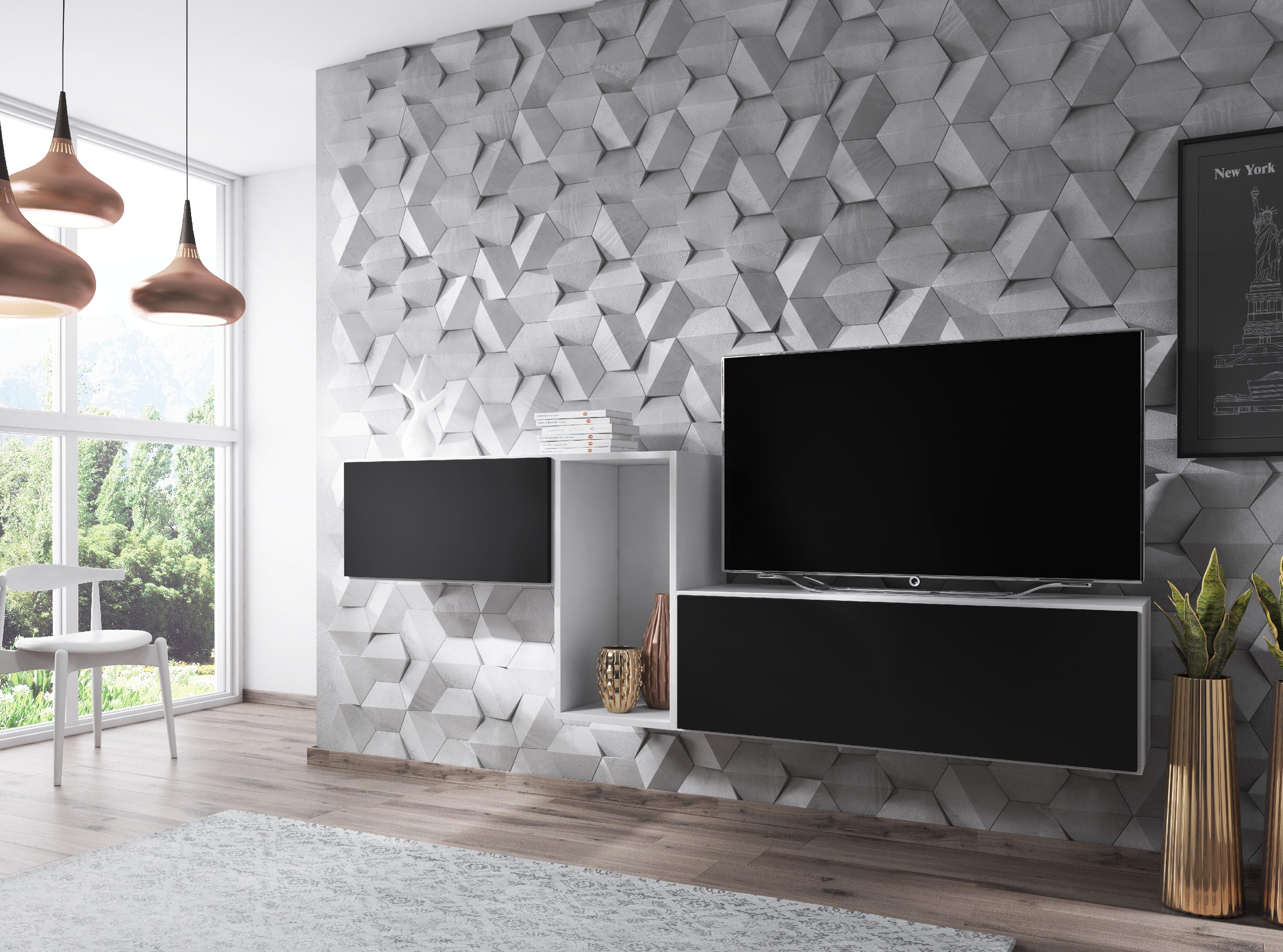 Artcam Zostava do obývačky ROCO 11 roco: korpus biely mat / okraj biely mat / dvierka čierny mat