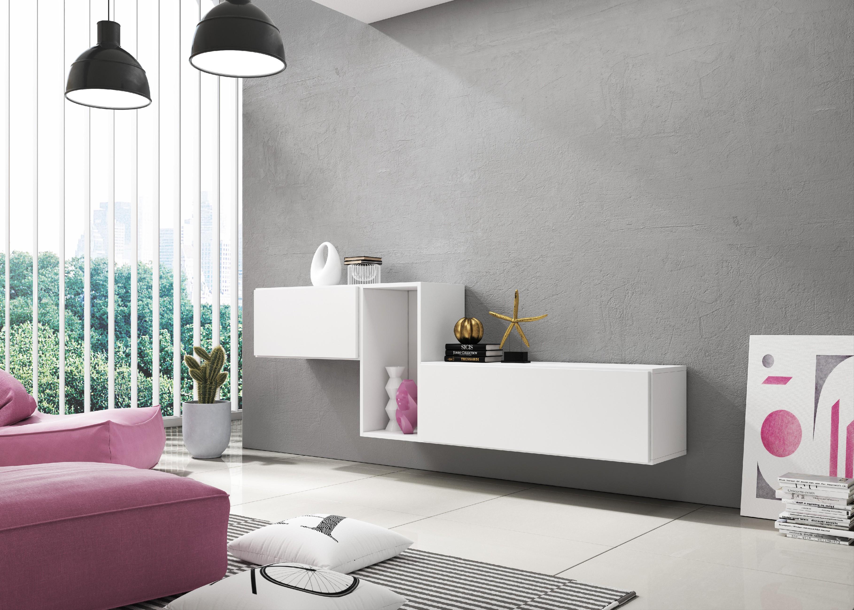 Artcam Zostava do obývačky ROCO 11 roco: korpus biely mat / okraj biely mat / dvierka biely mat