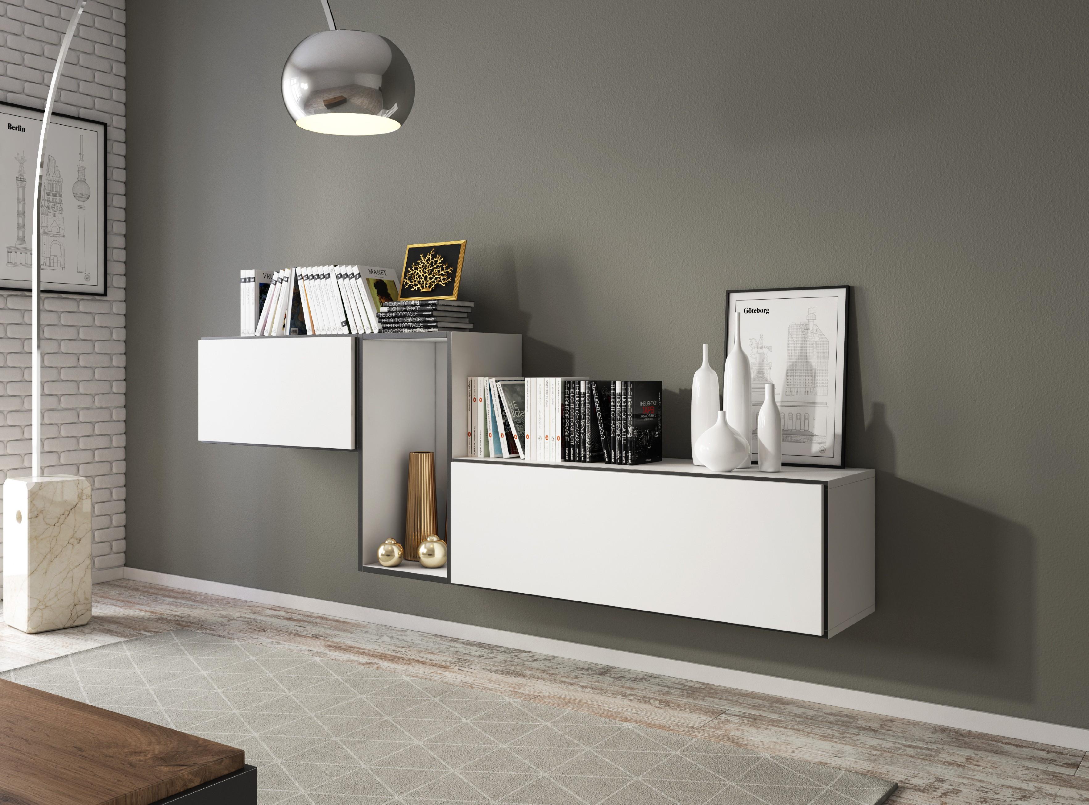 Artcam Zostava do obývačky ROCO 11 roco: korpus biely mat / okraj čierny mat / dvierka biely mat