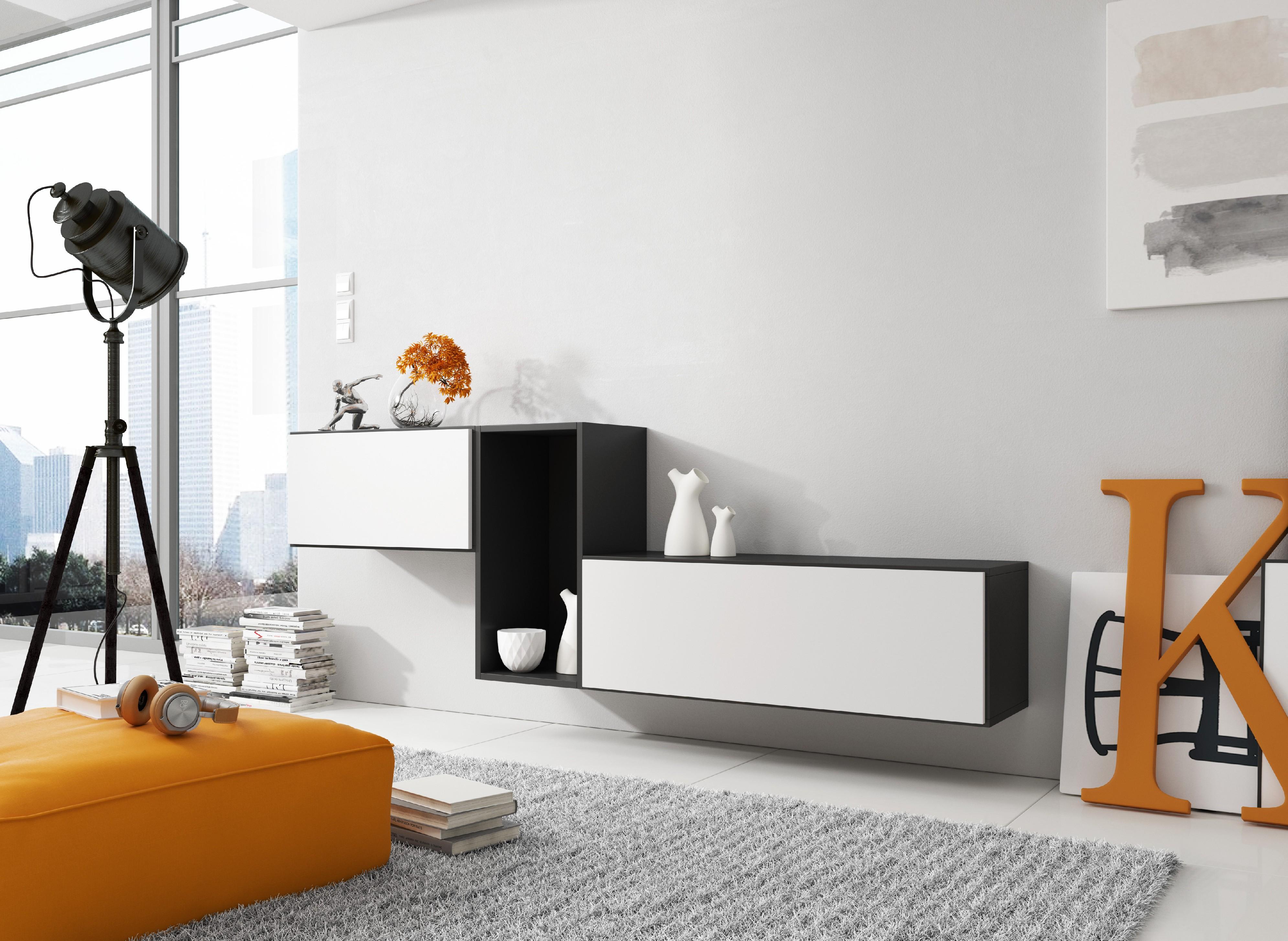 Artcam Zostava do obývačky ROCO 11 roco: korpus čierny mat / okraj čierny mat / dvierka biely mat