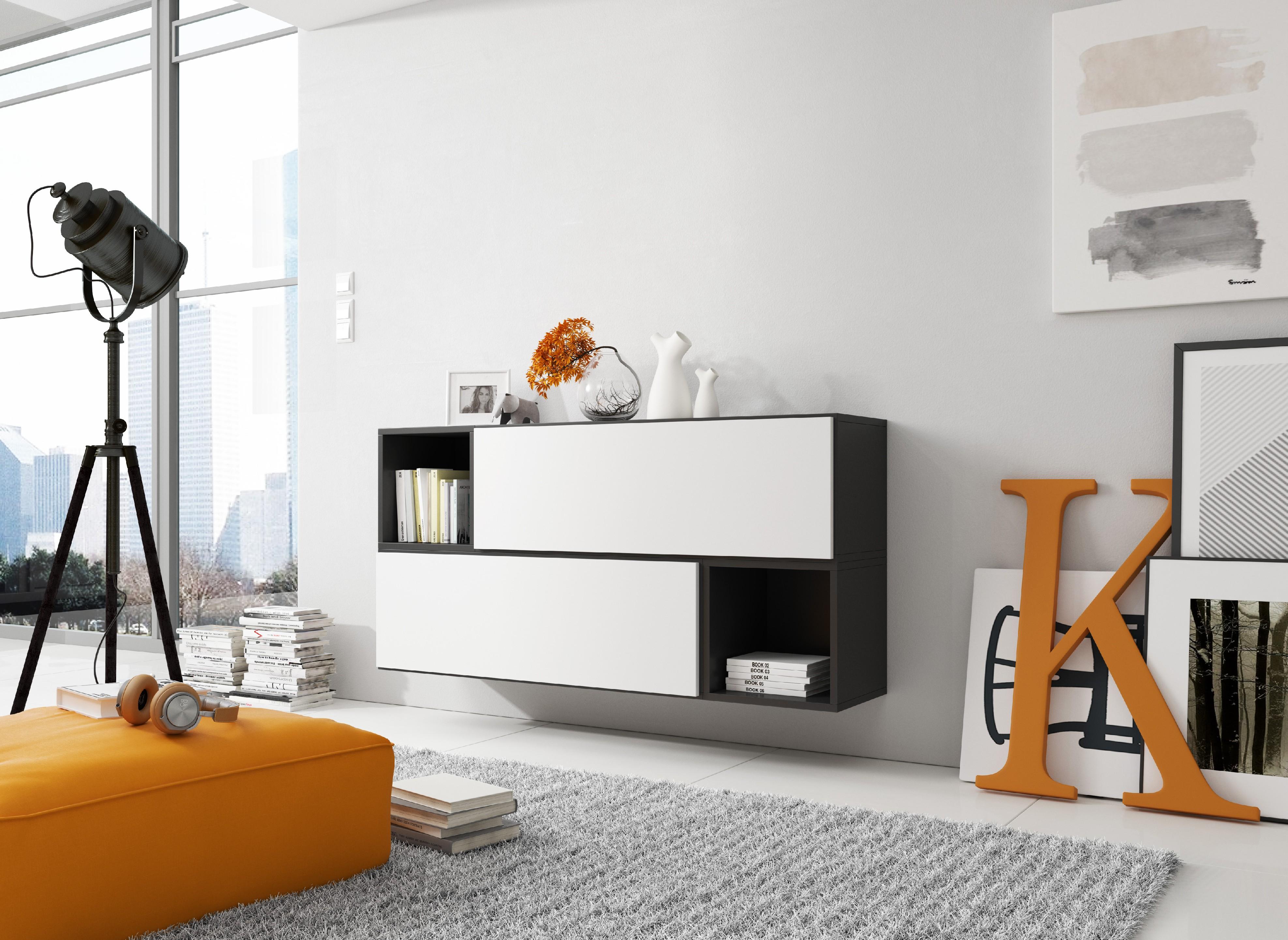 Artcam Zostava do obývačky ROCO 14 roco: korpus čierny mat / okraj čierny mat / dvierka biely mat