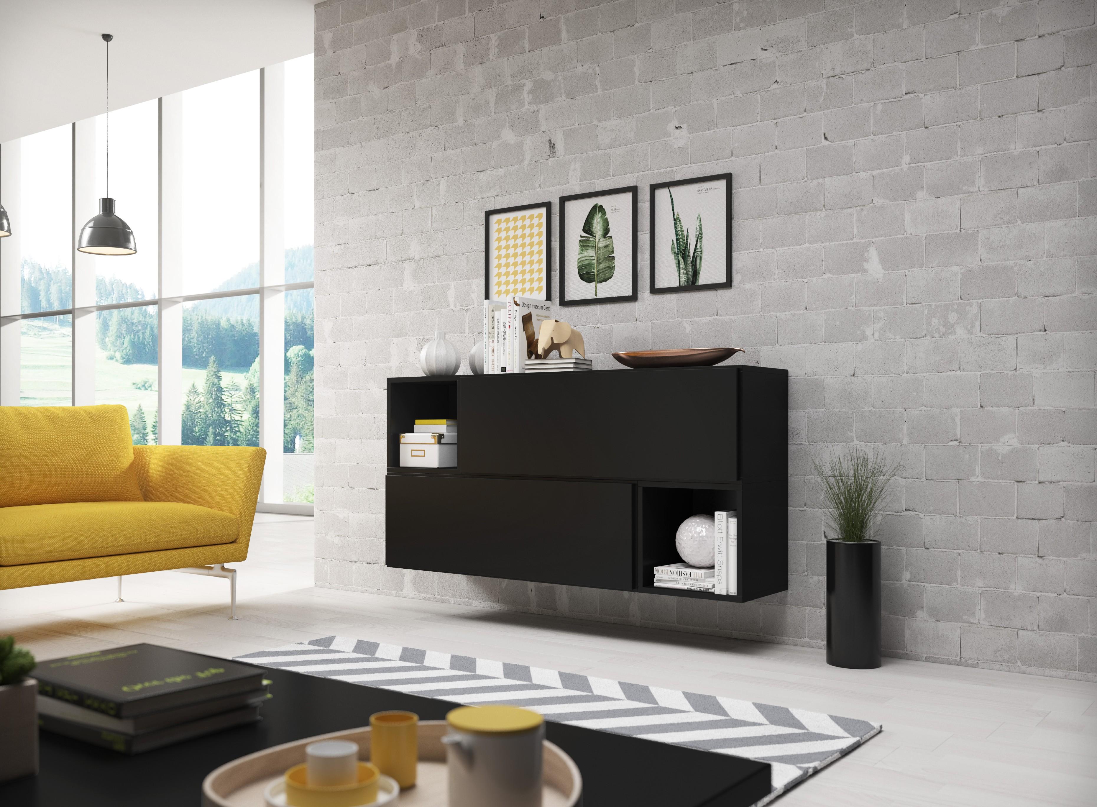 Artcam Zostava do obývačky ROCO 14 roco: korpus čierny mat / okraj čierny mat / dvierka čierny mat