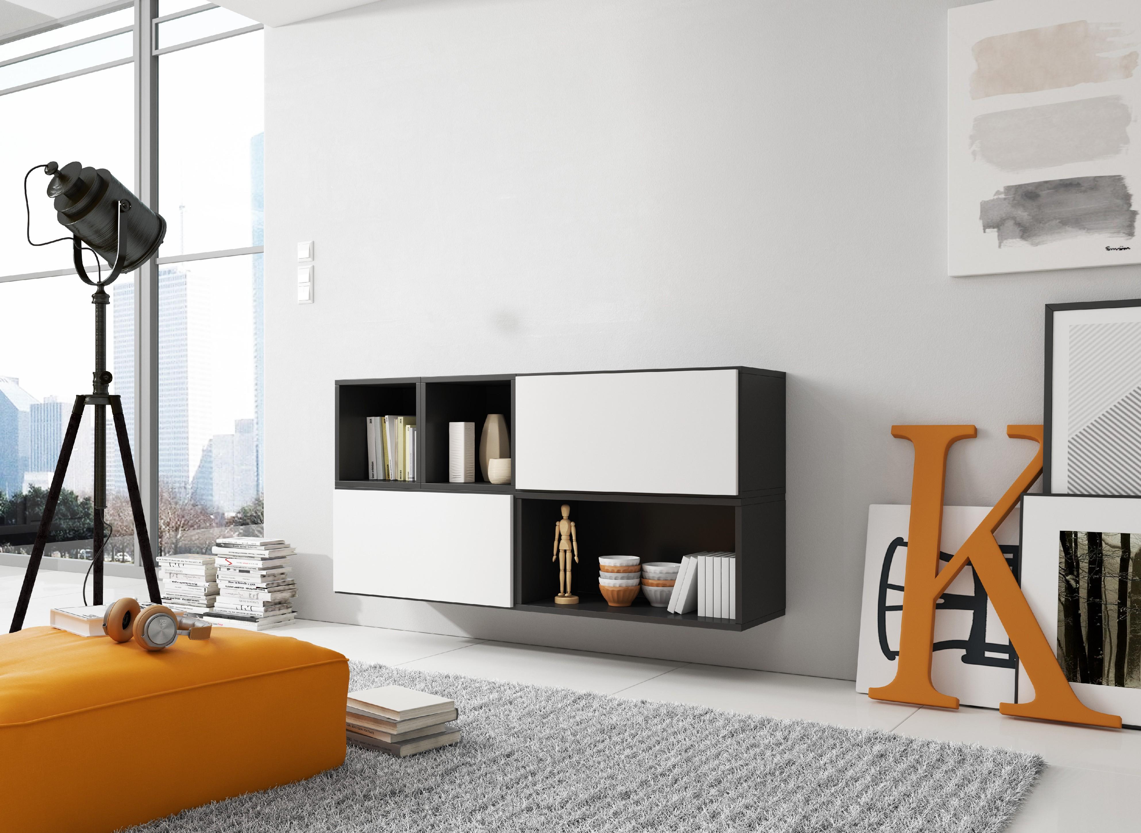 Artcam Zostava do obývačky ROCO 15 roco: korpus čierny mat / okraj čierny mat / dvierka biely mat