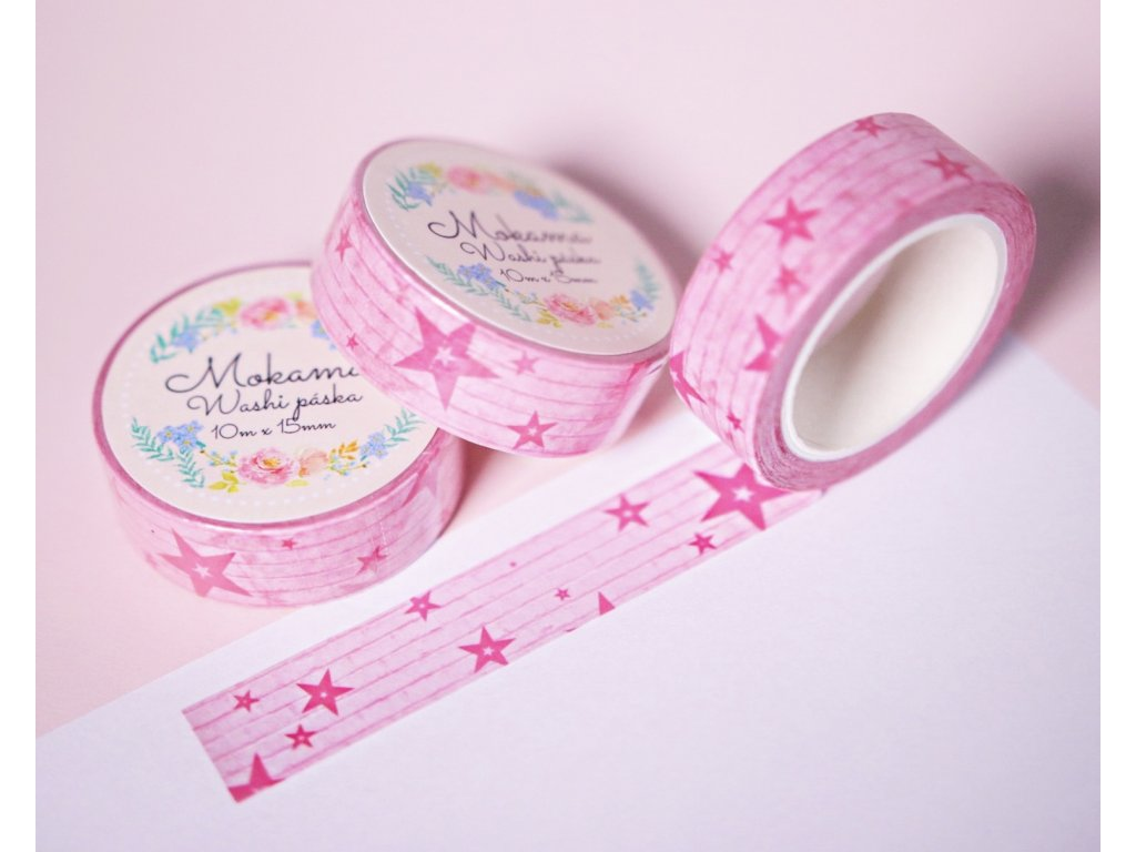 Stars are Pink Washi Páska