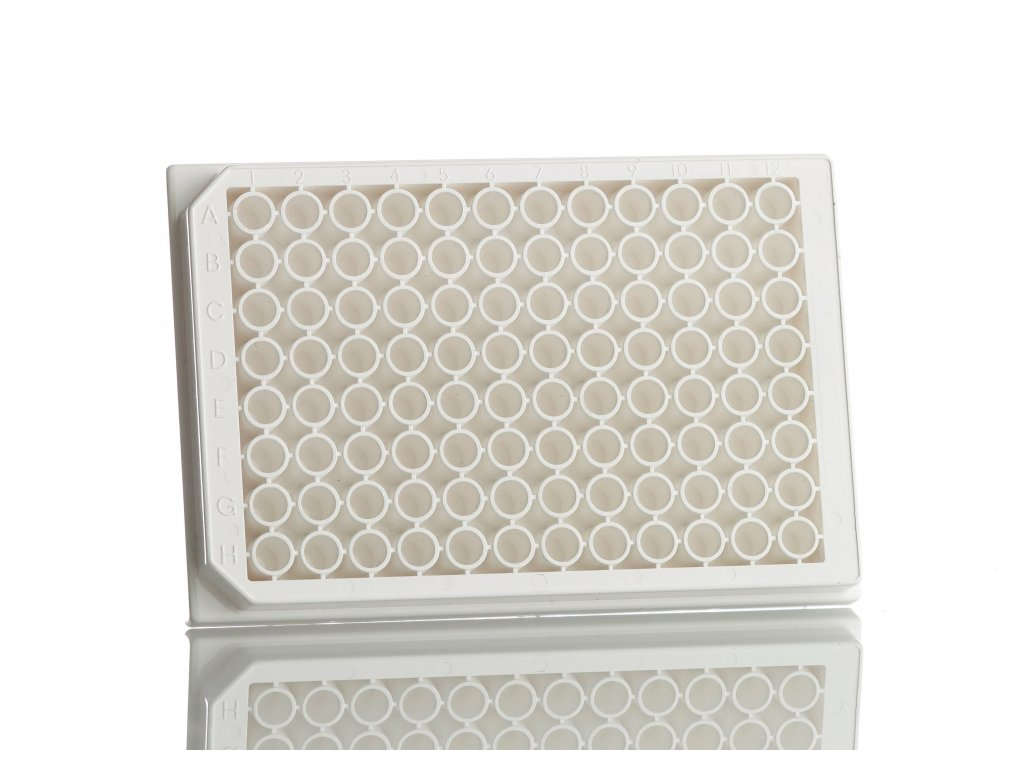 96well, solid bottom plate, white, PS (100 plates)