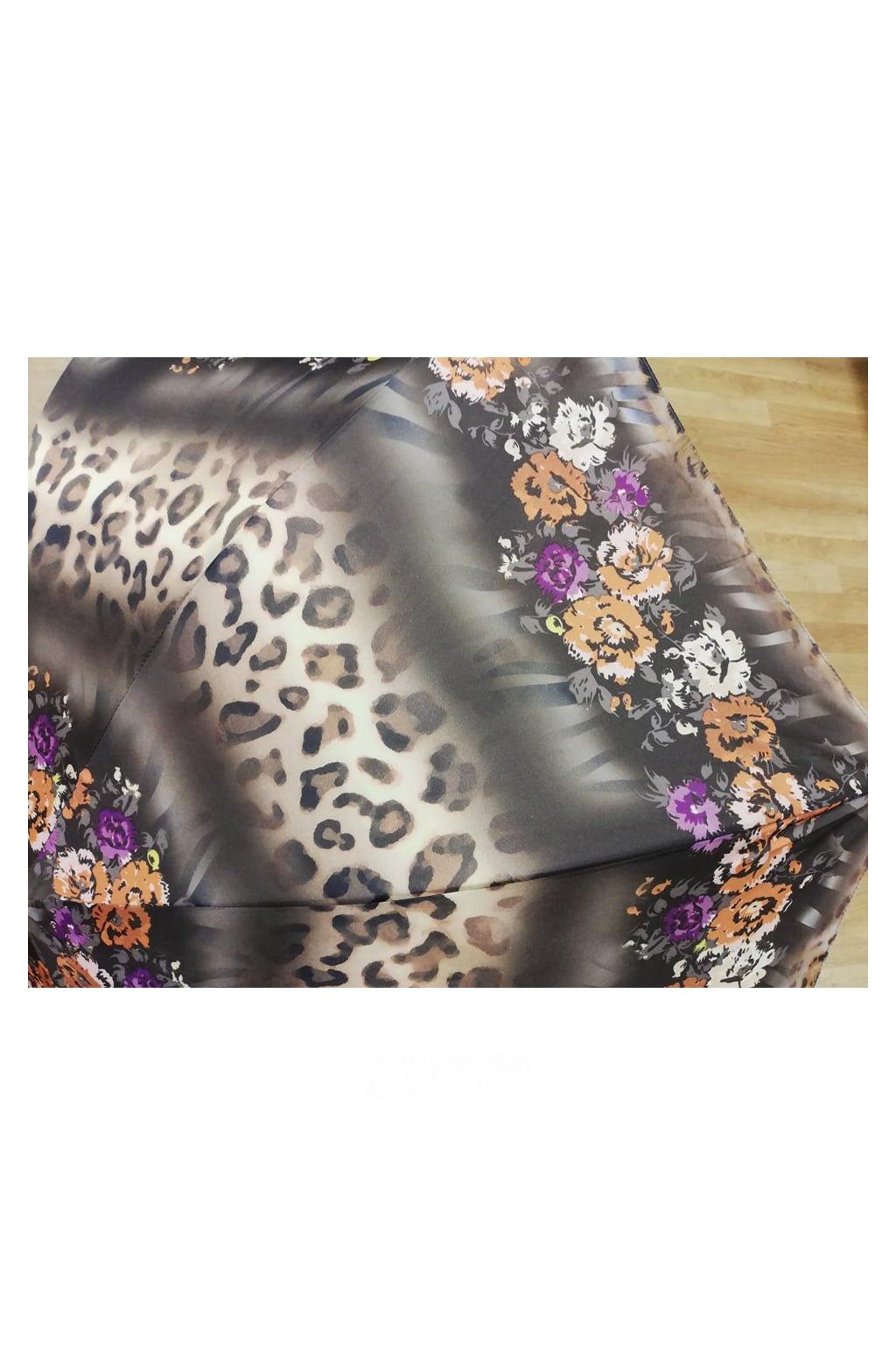 Deštník dámský holový hnědý s květy