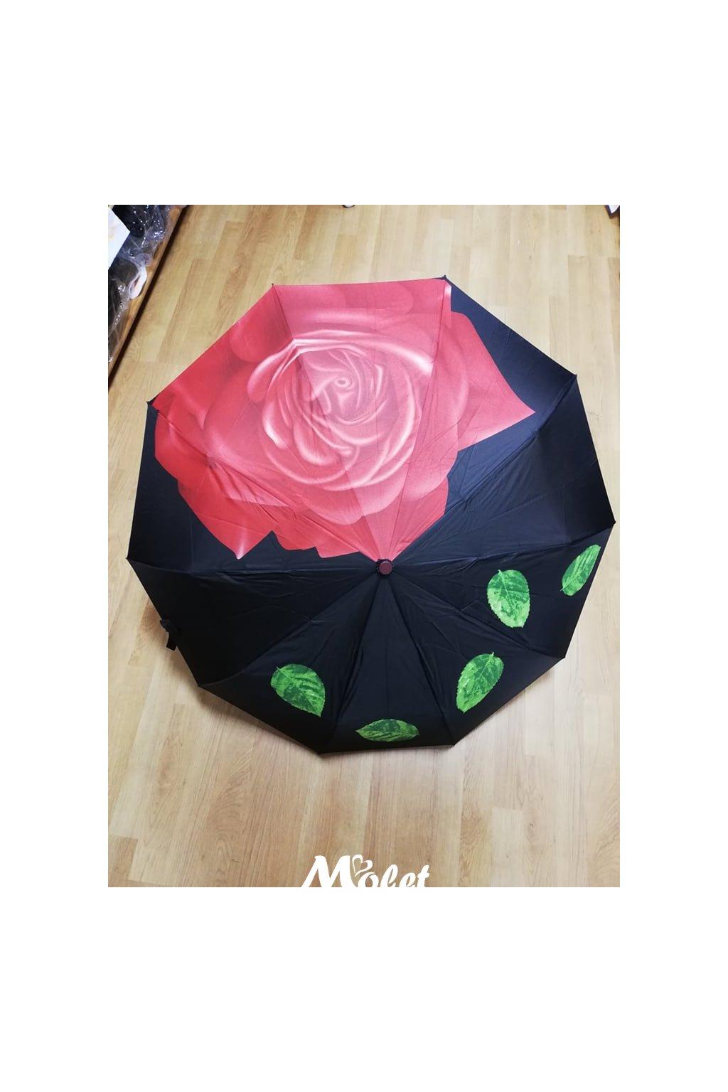 Deštník luxusní dámský skládací s růží