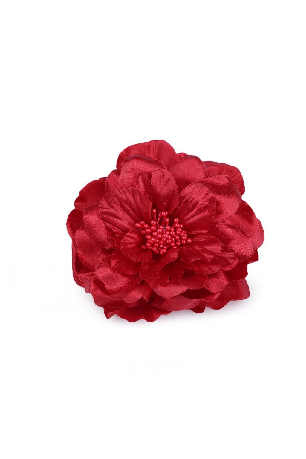 Brož saténová růže červená