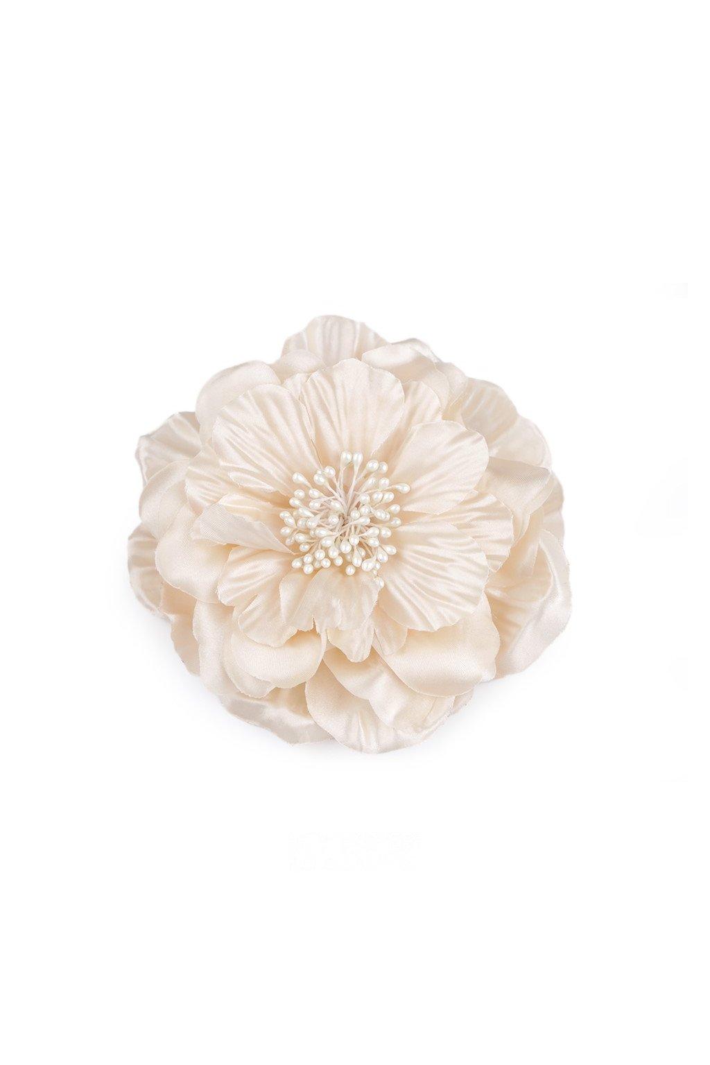 Brož saténová růže krémová