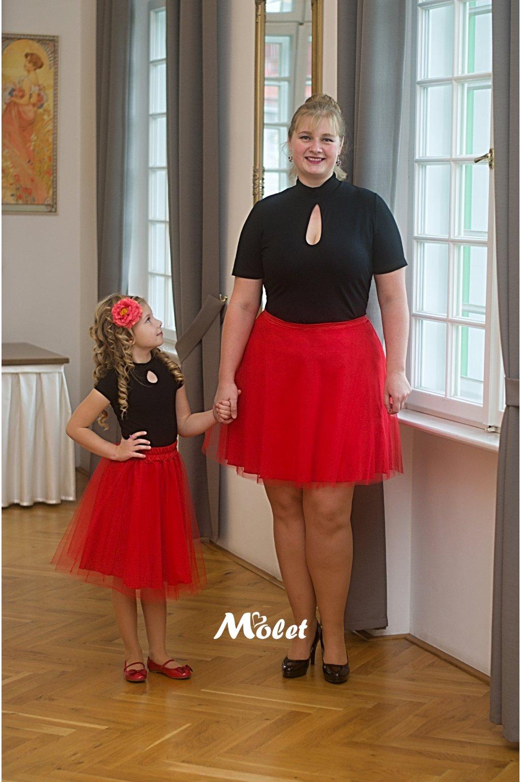 Mini tylová sukně pro malé holčičky červená