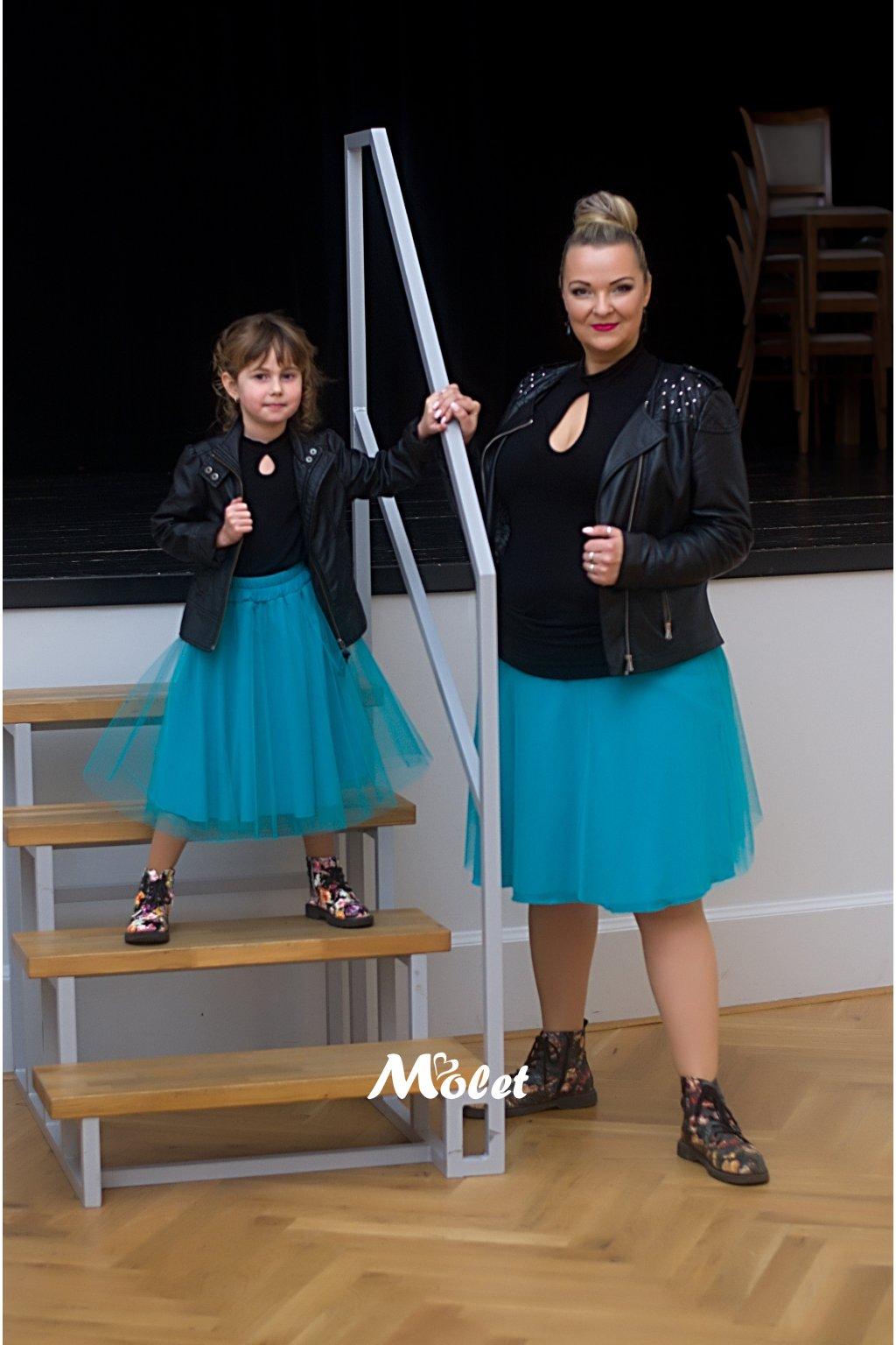 Mini tylová sukně pro malé holčičky tyrkysová