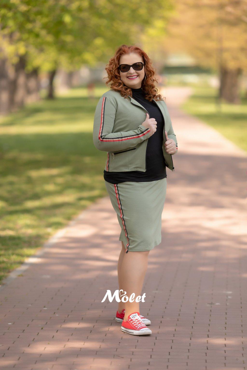 Margaret sukně s lampasem zelená