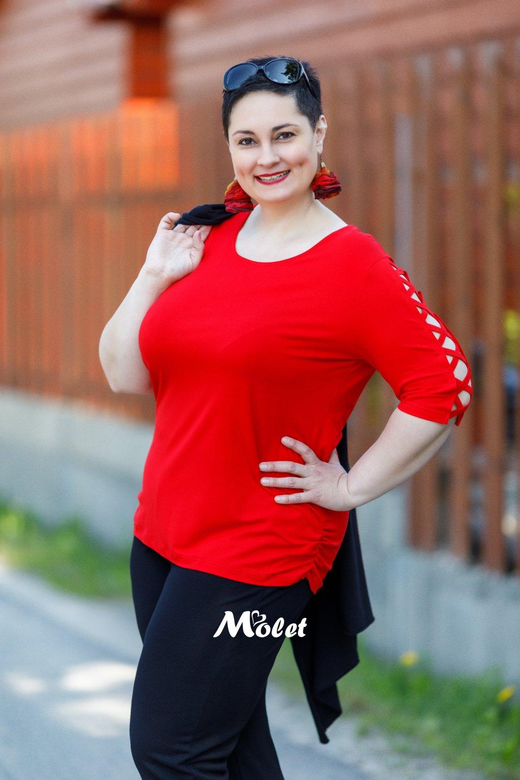 Milena červená halenka s křížkovým rukávem