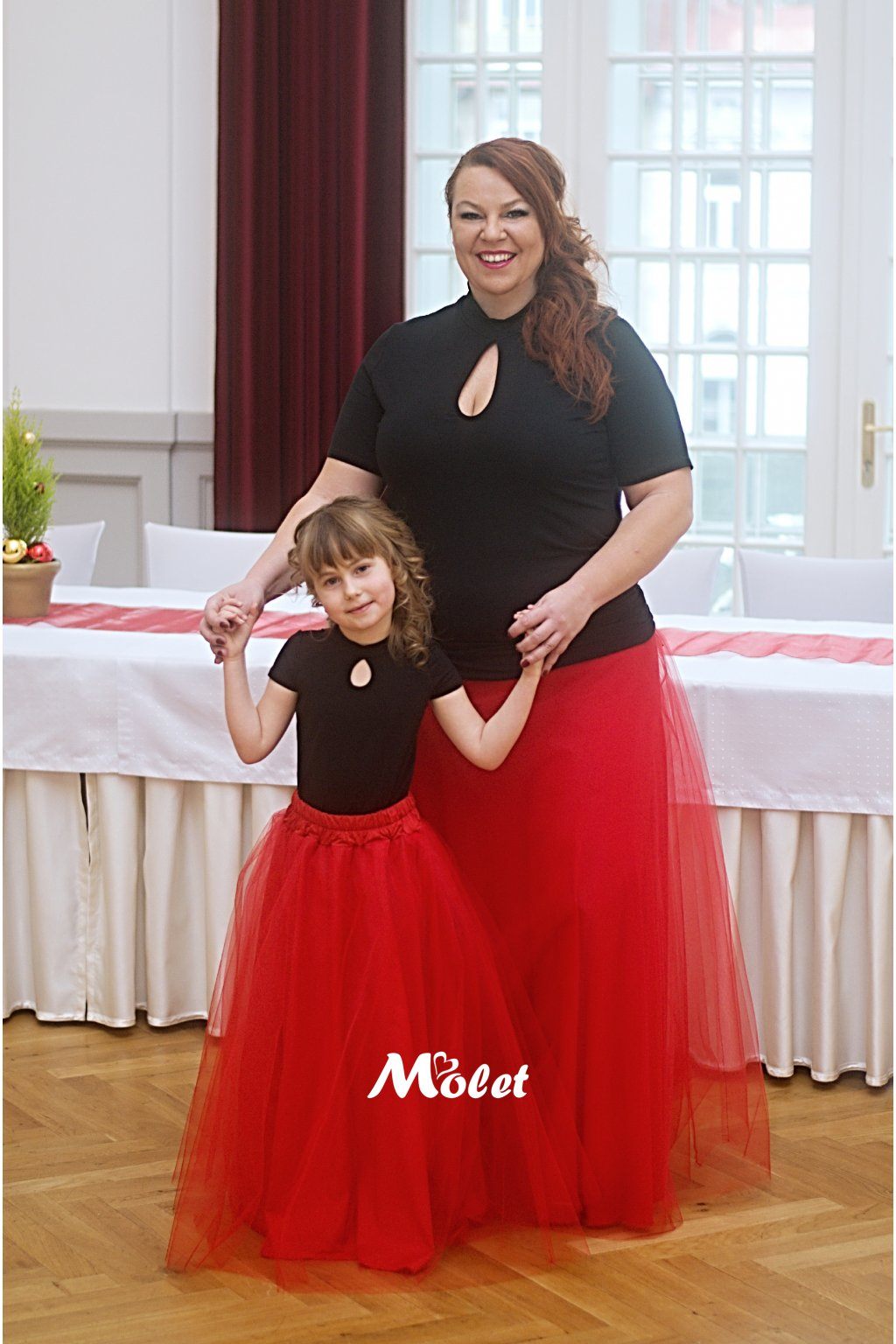 Maxi tylová sukně pro malé holčičky červená