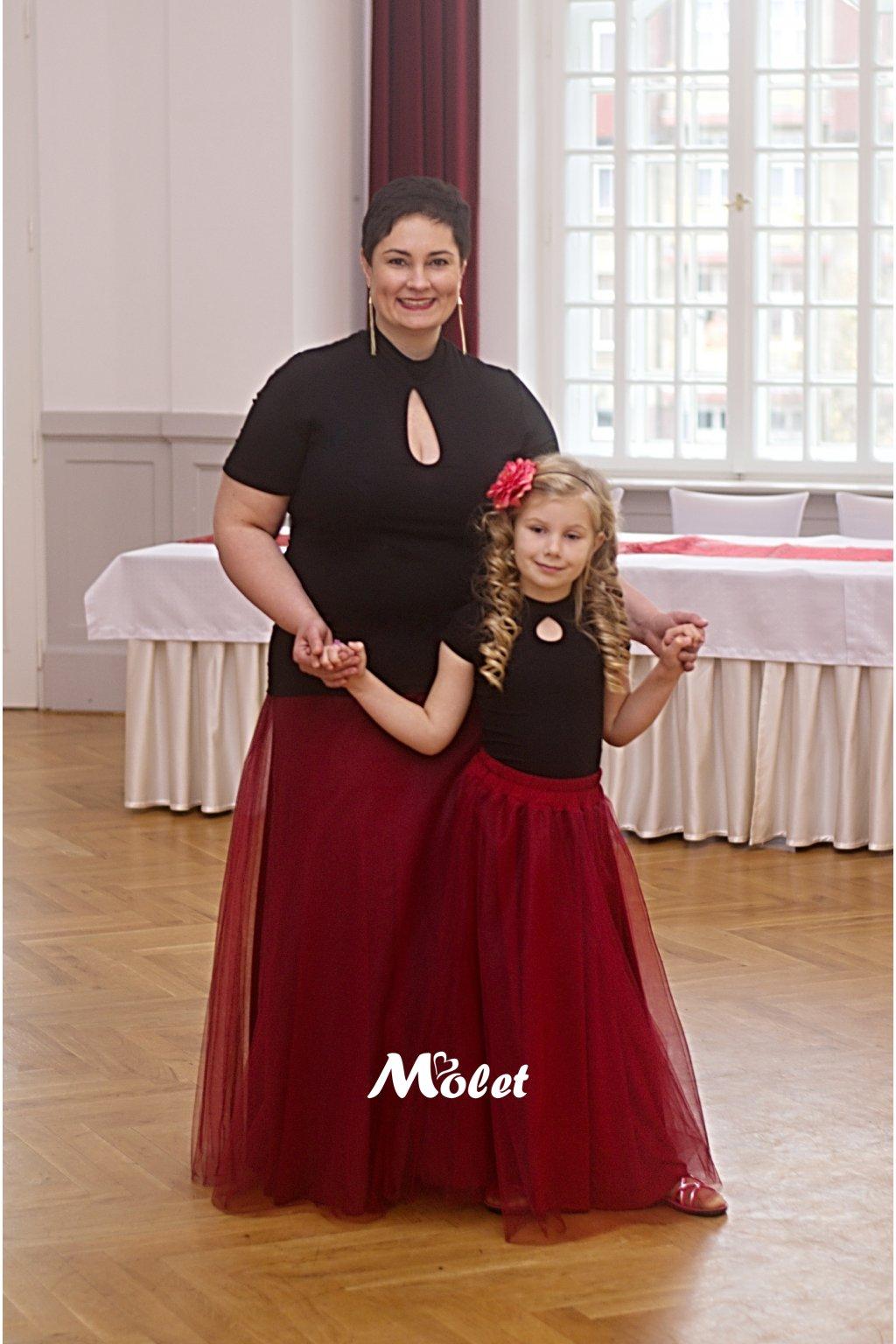 Maxi tylová sukně pro malé holčičky vínová