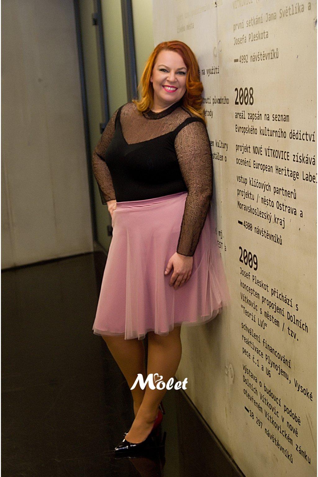 Tylová sukně krátká pudrová