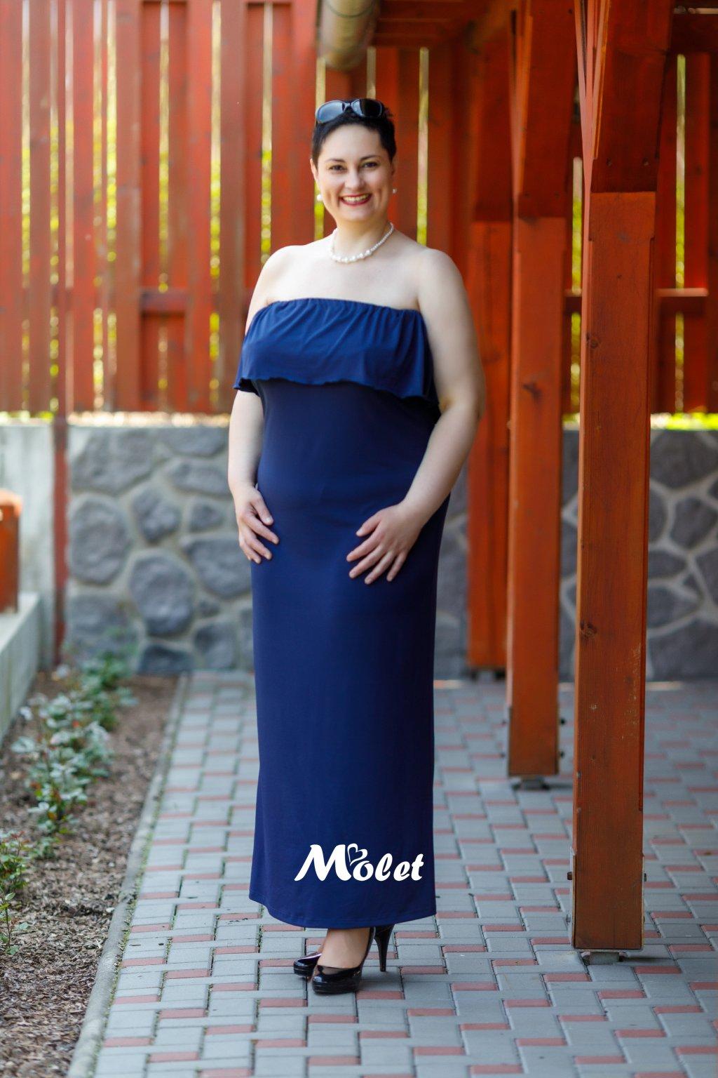 Flo dlouhé šaty s volánem modré