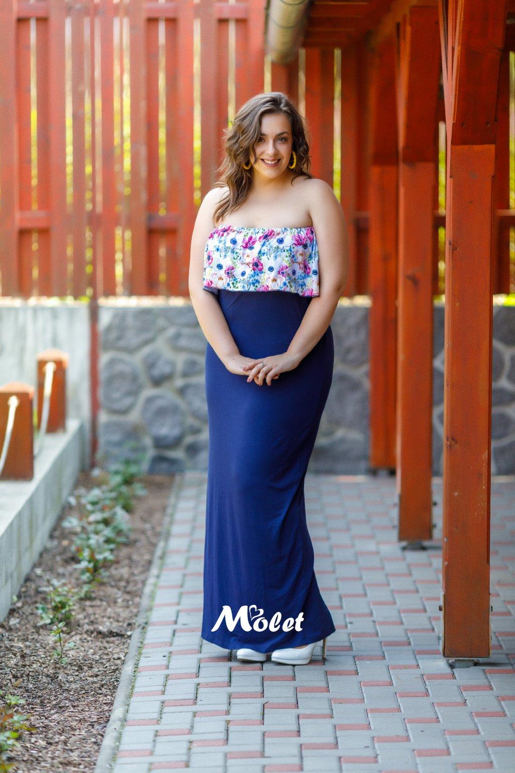 Flo dlouhé šaty s volánem modré Flora