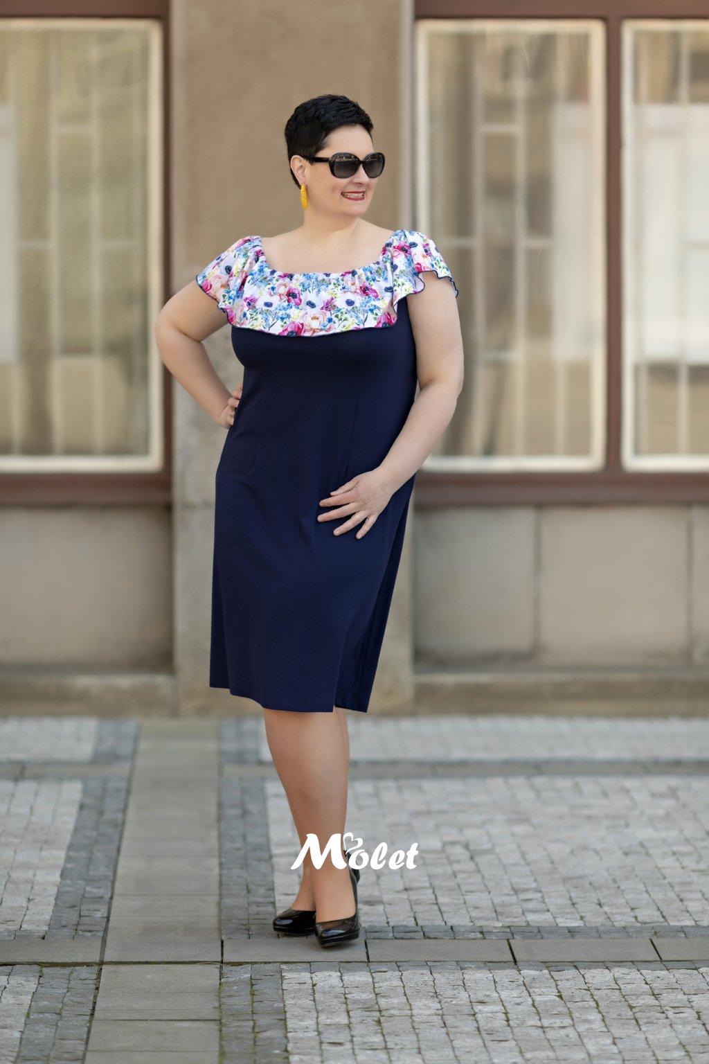 Flo pouzdrové šaty s volánem modré Flora