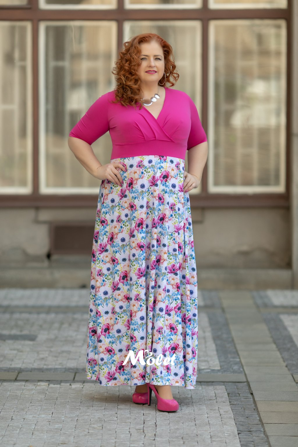 Alanis dlouhé šaty fuksiové Flora