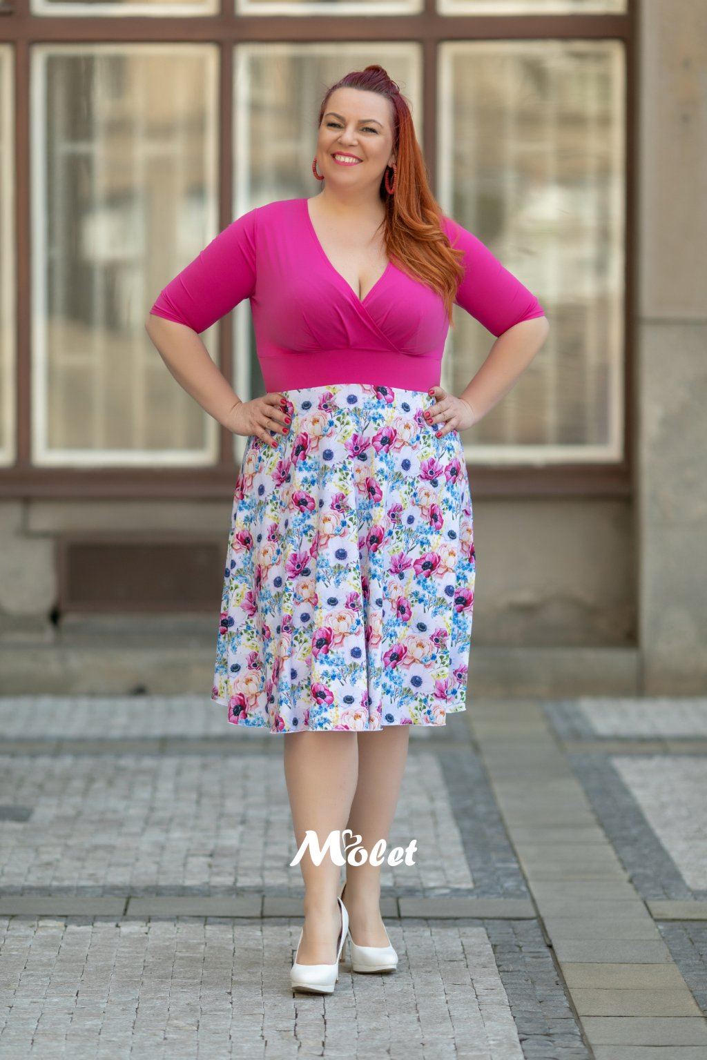 Alanis krátké šaty květinové fuksiové Flora