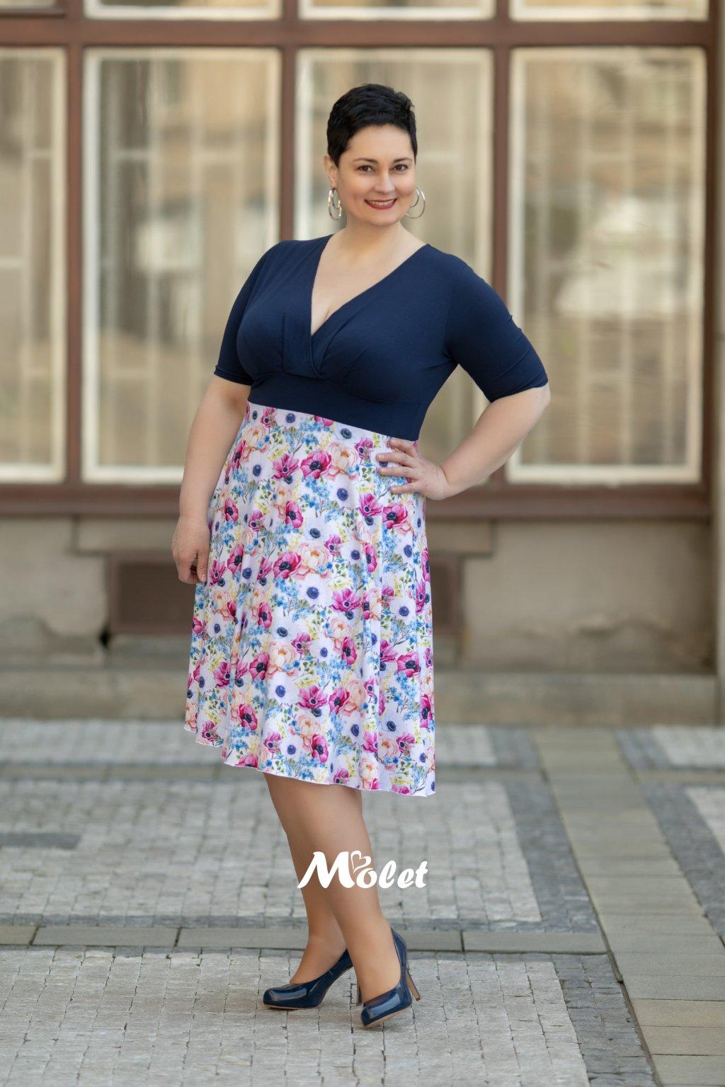 Alanis krátké šaty květinové modré Flora