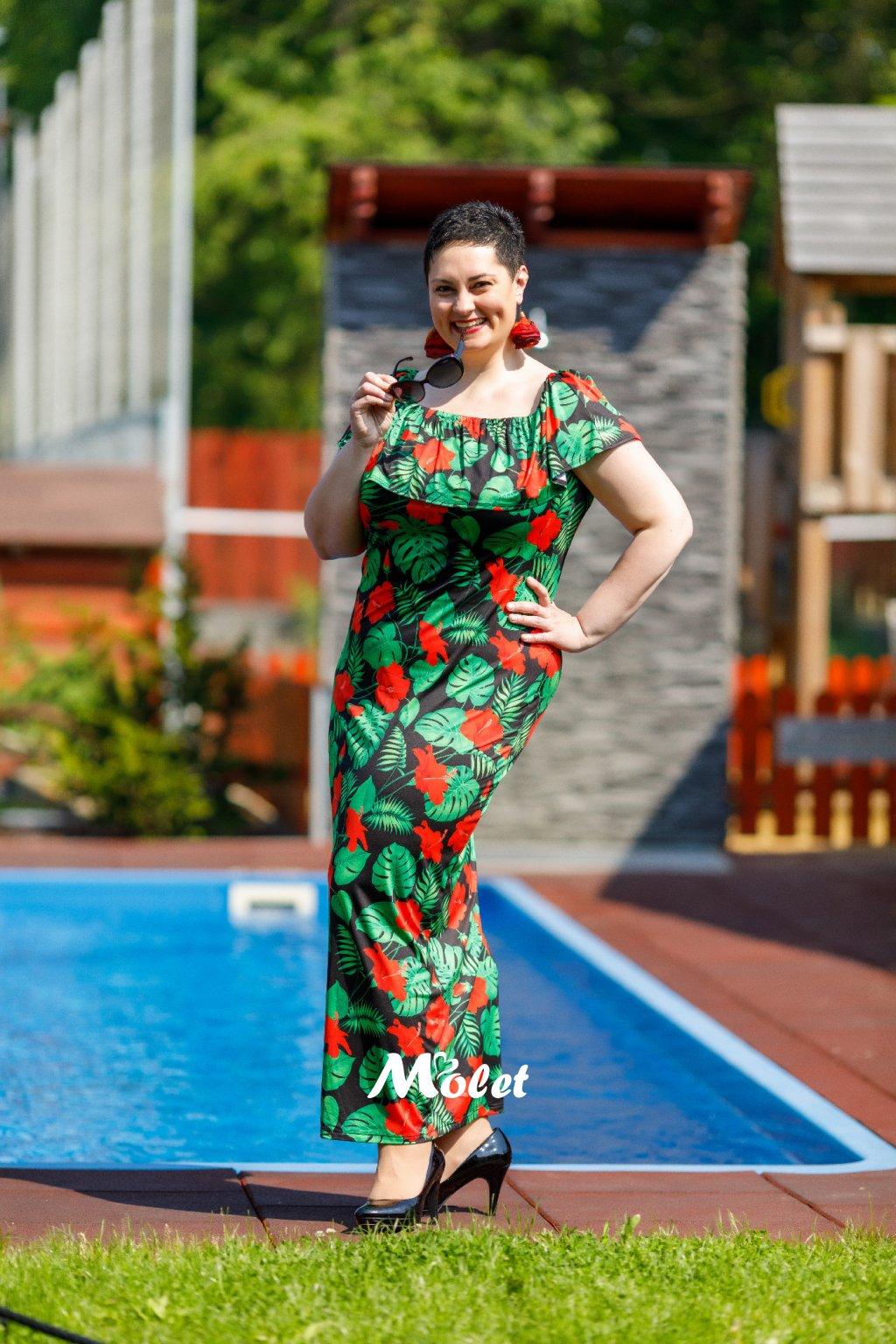 Flo dlouhé letní šaty s volánem Tropic