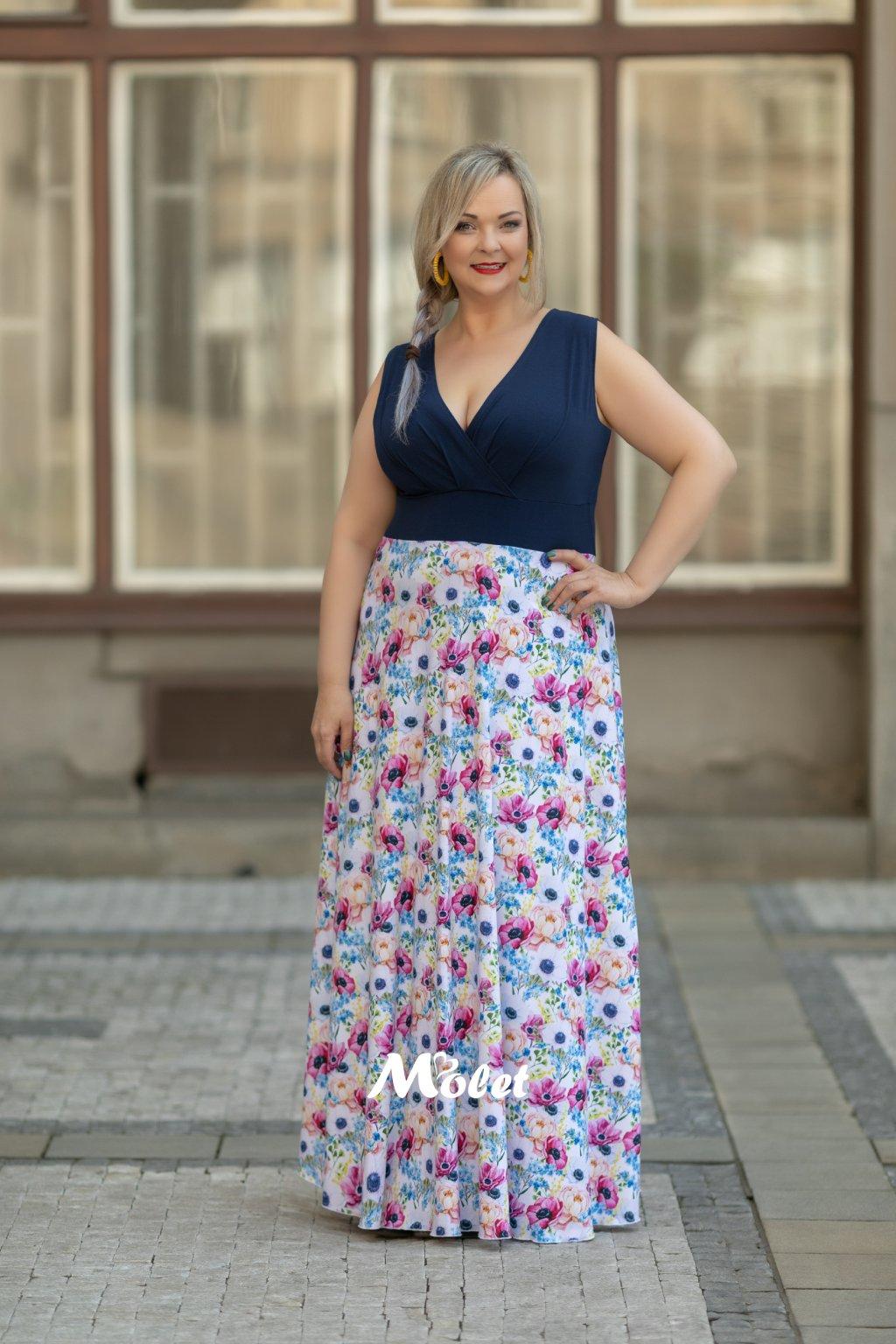 Alanis dlouhé šaty modré bez rukávů Flora