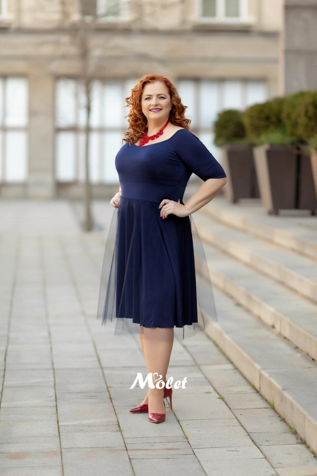 Magda krátké tylové šaty modré