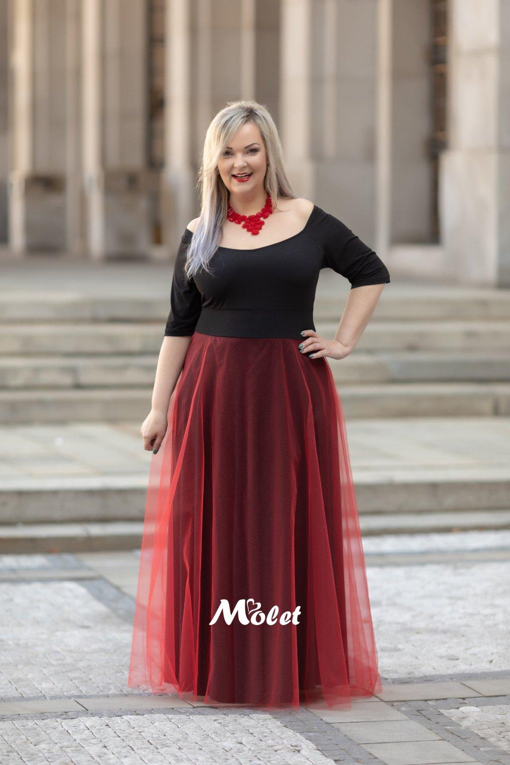 Magda dlouhé tylové šaty černo červené