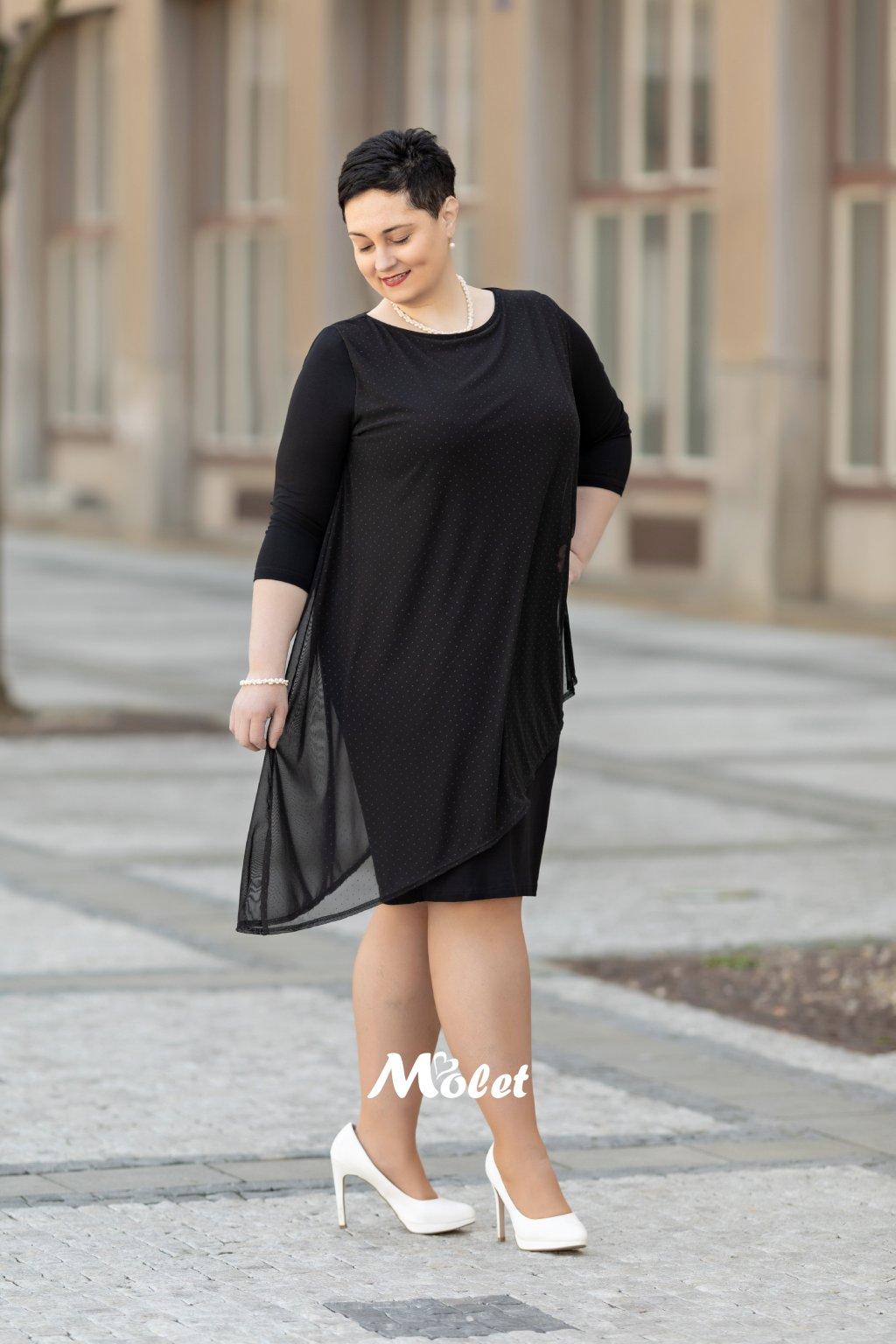 Laura šaty s tylovým přehozem černé