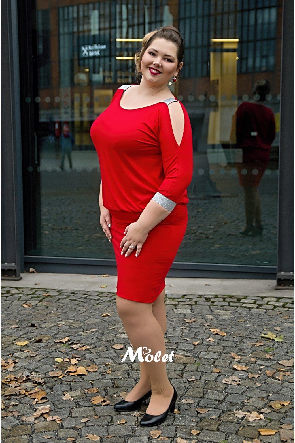 BODI šaty se stříbrnými pásky červené