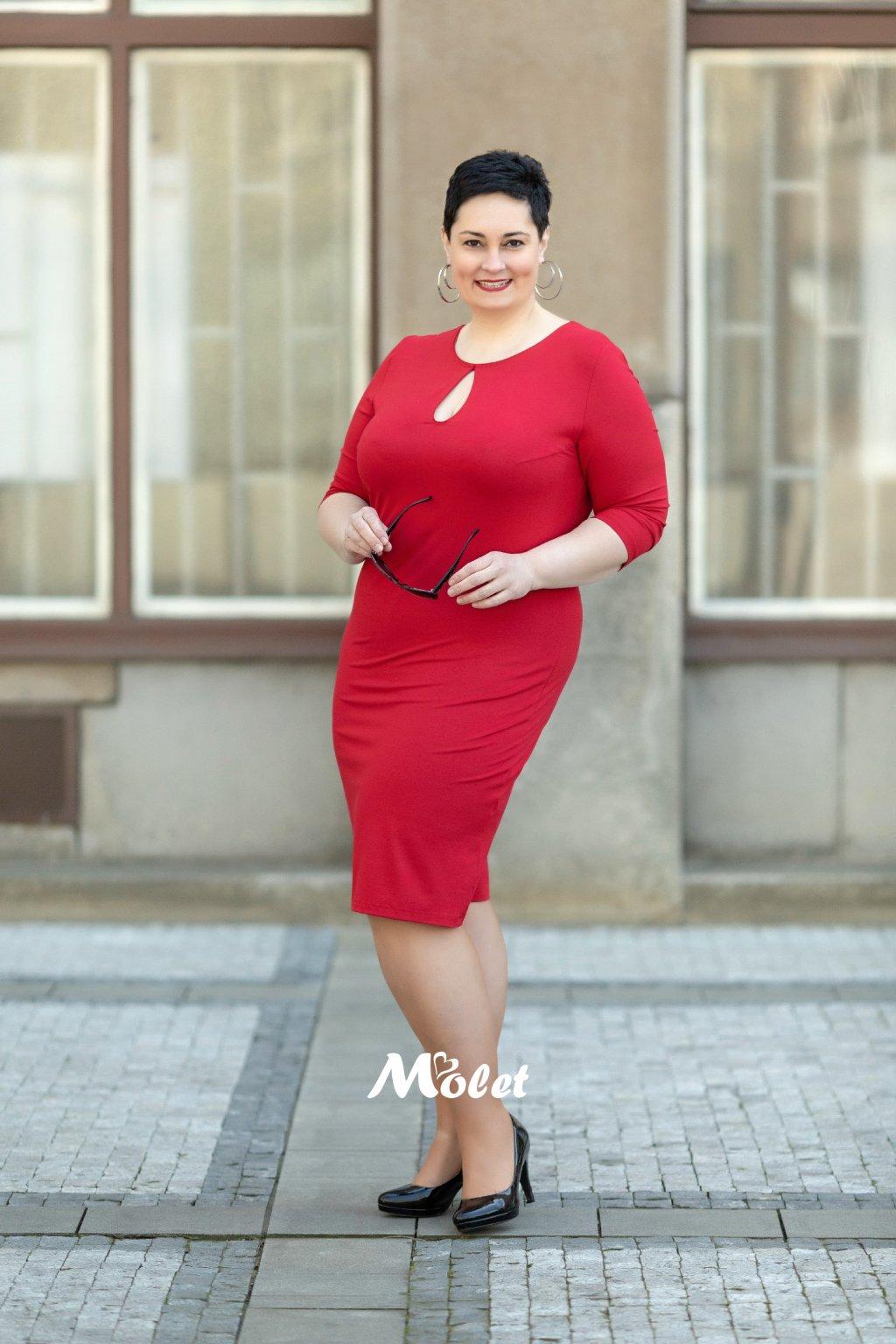 Slza červené pouzdrové šaty