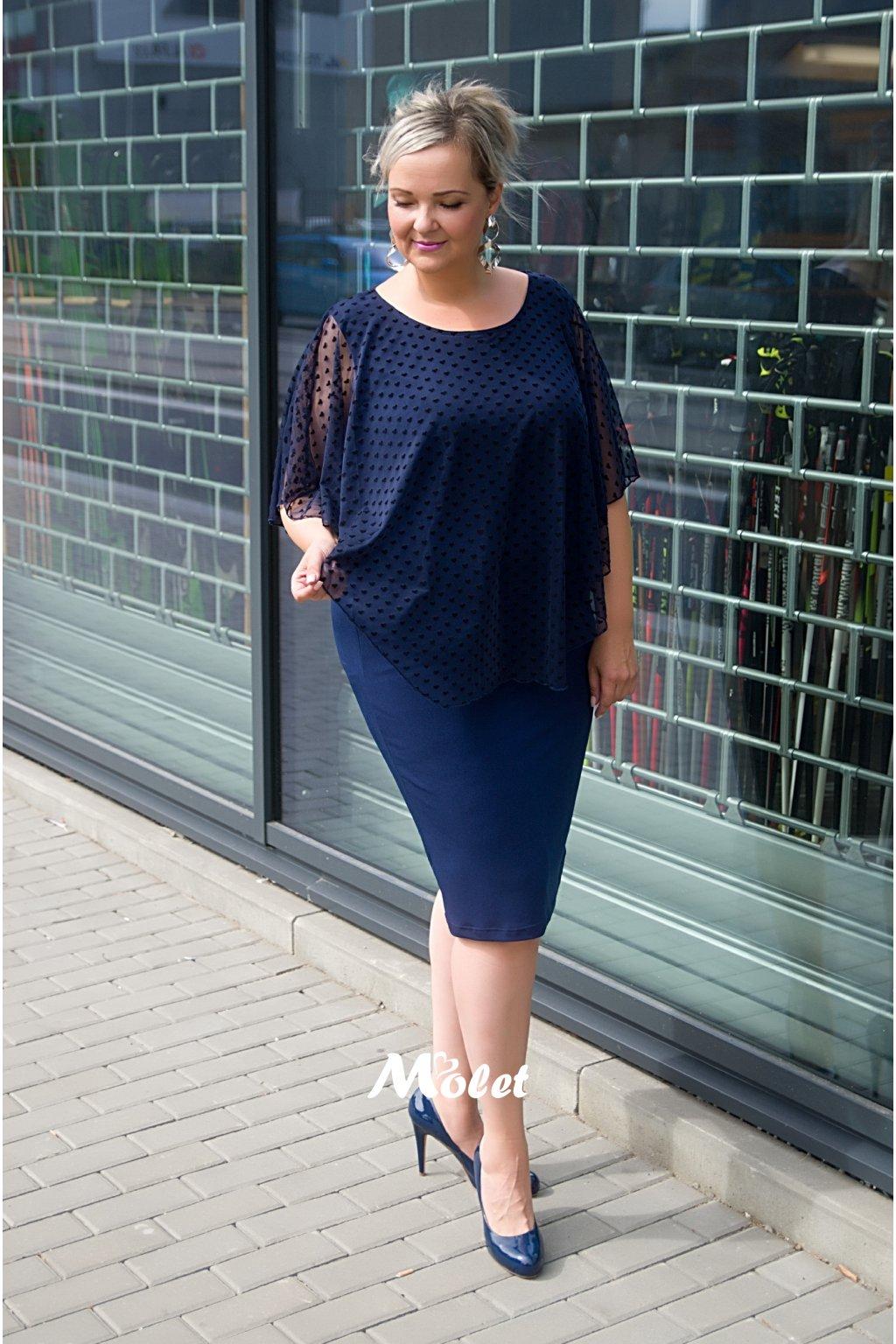 Loren šaty s průsvitným přehozem modré