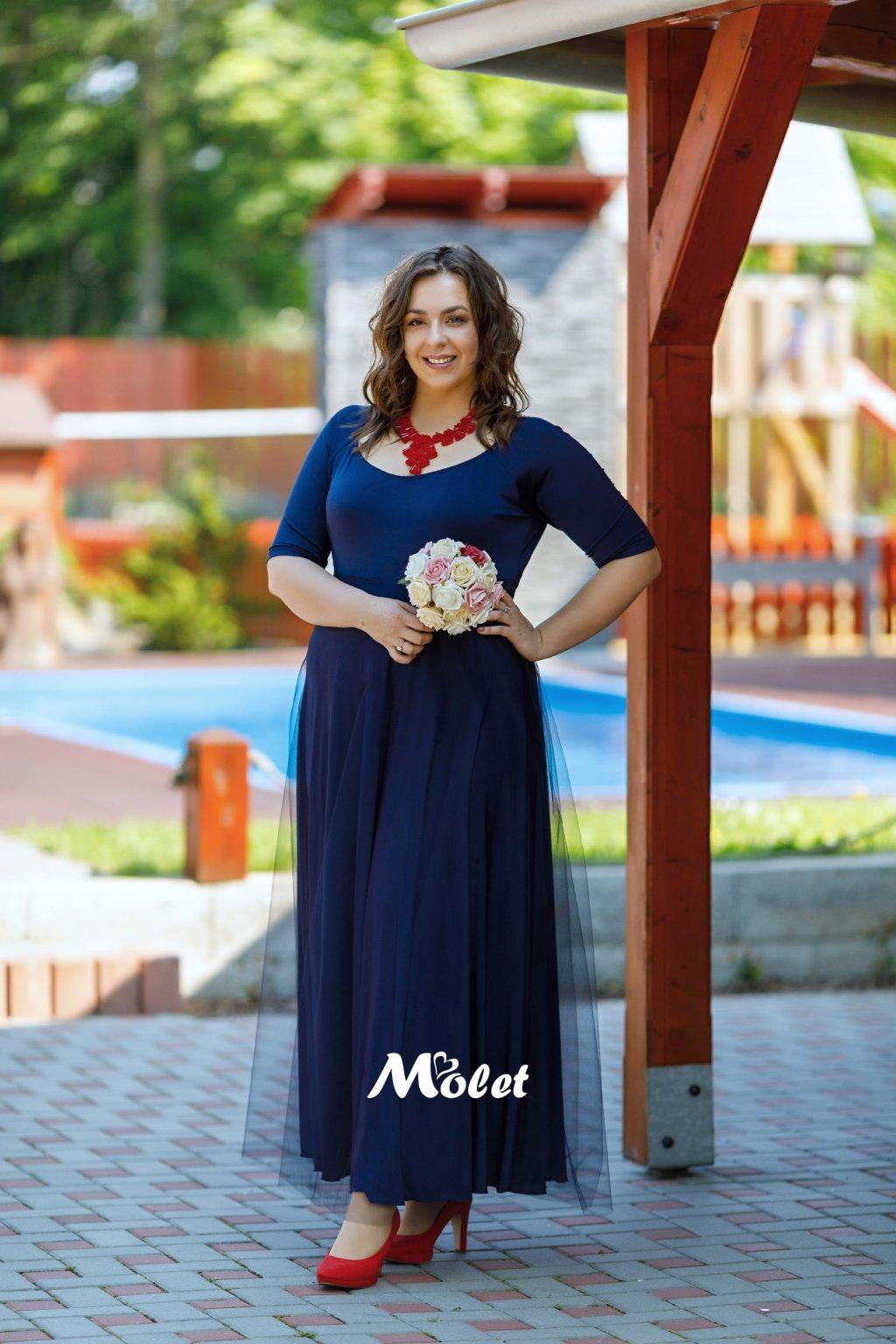 Magda dlouhé tylové šaty modré