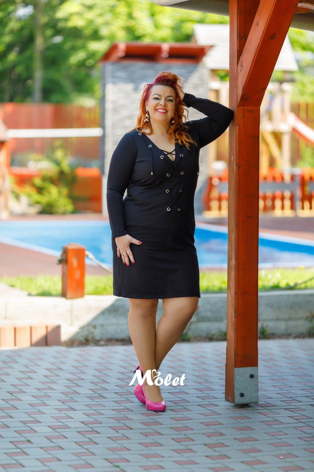 Kristin šaty se zavazováním ve výstřihu černé