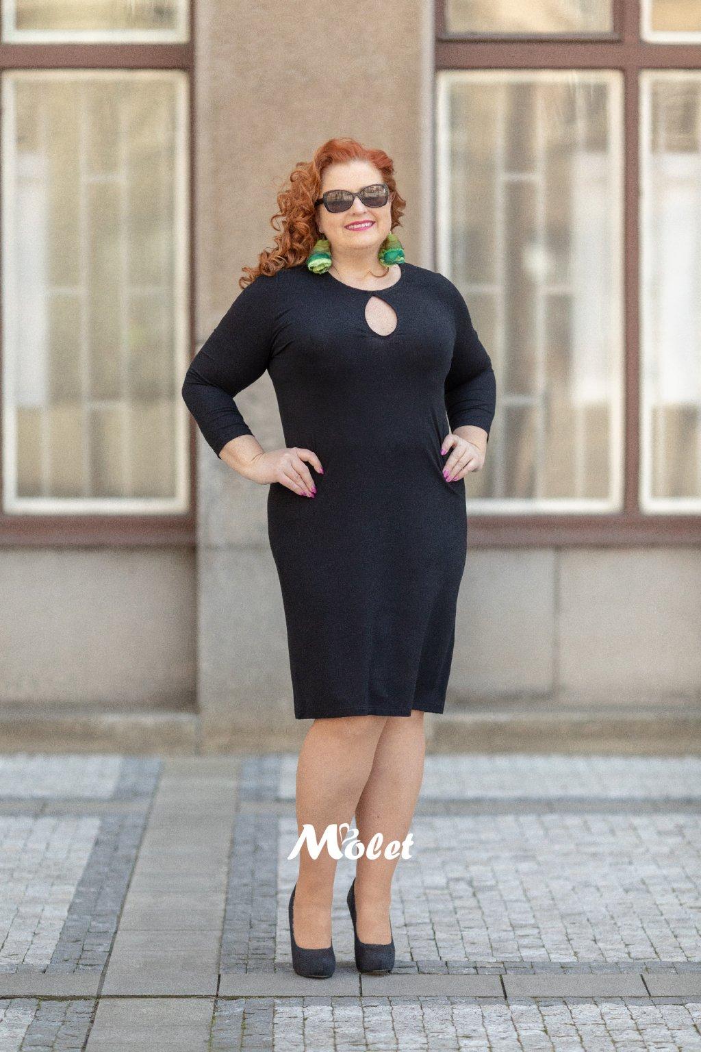 Slza černé pouzdrové šaty