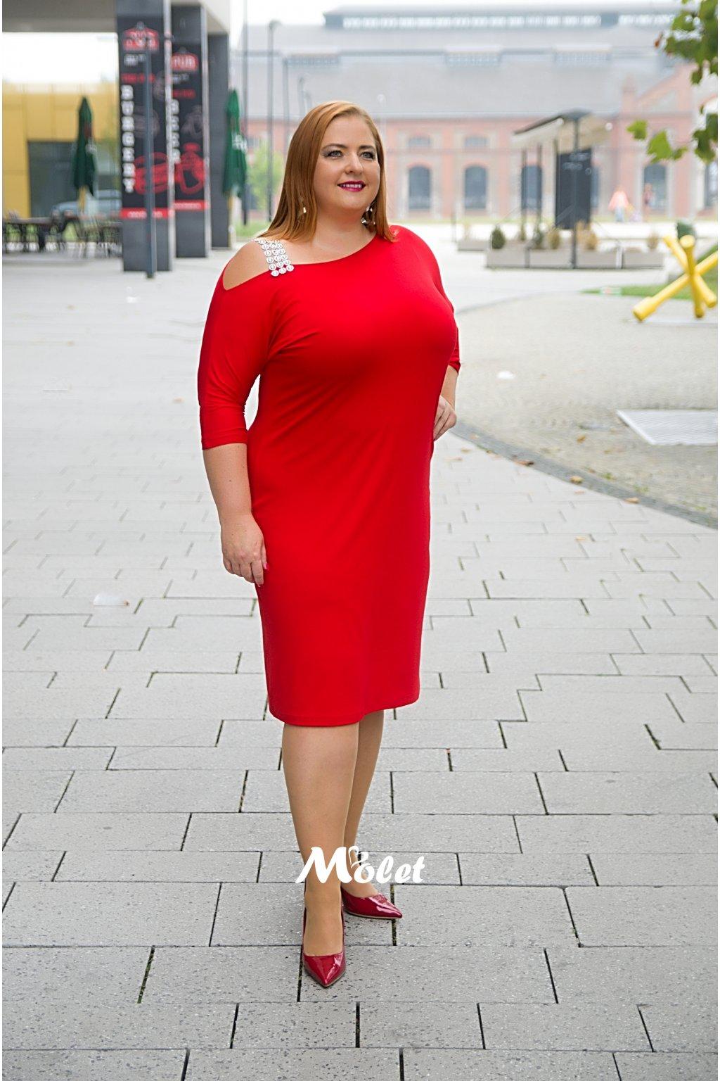 RYAN červené šaty se stříbrným ramínkem