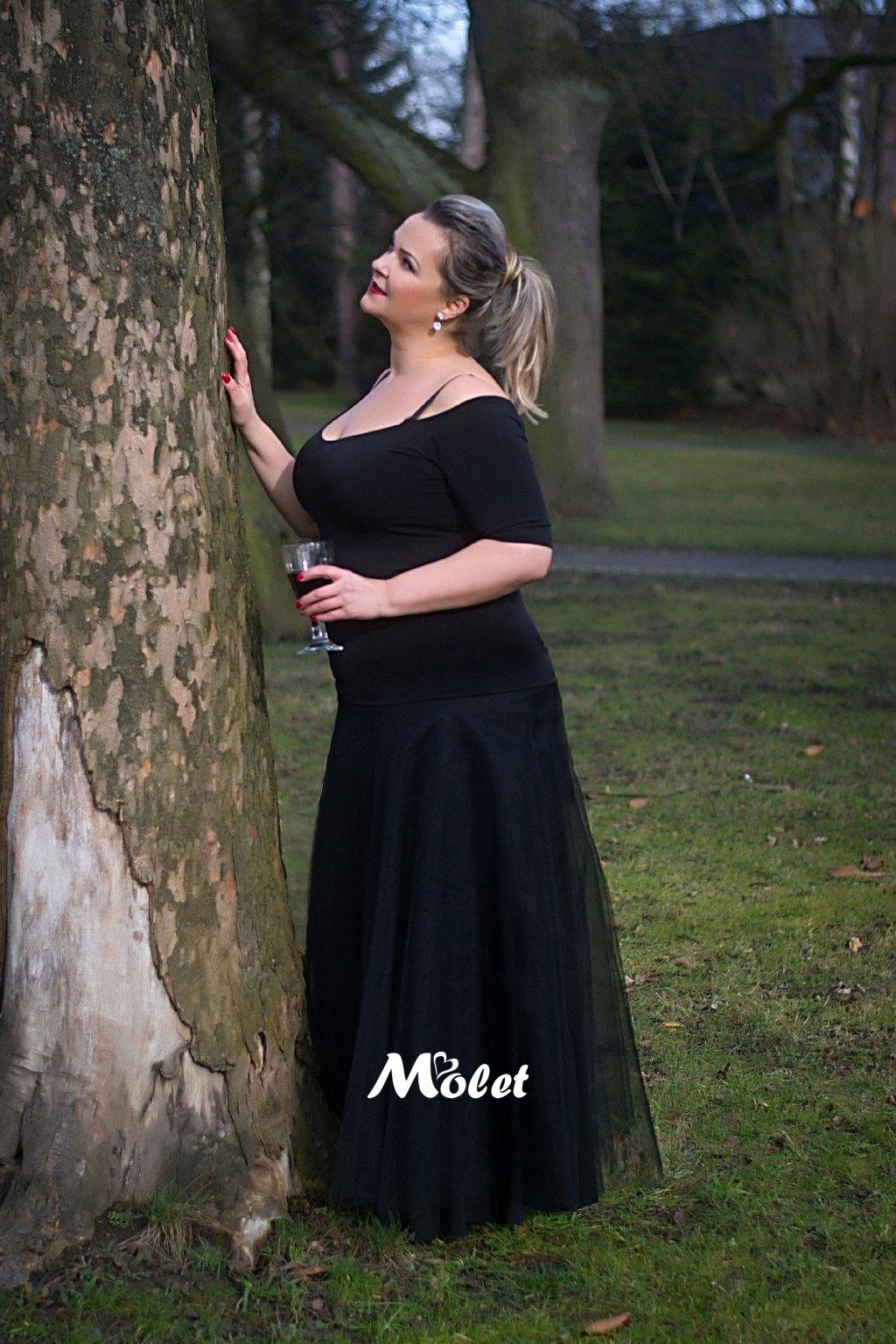 Tylová sukně dlouhá černá
