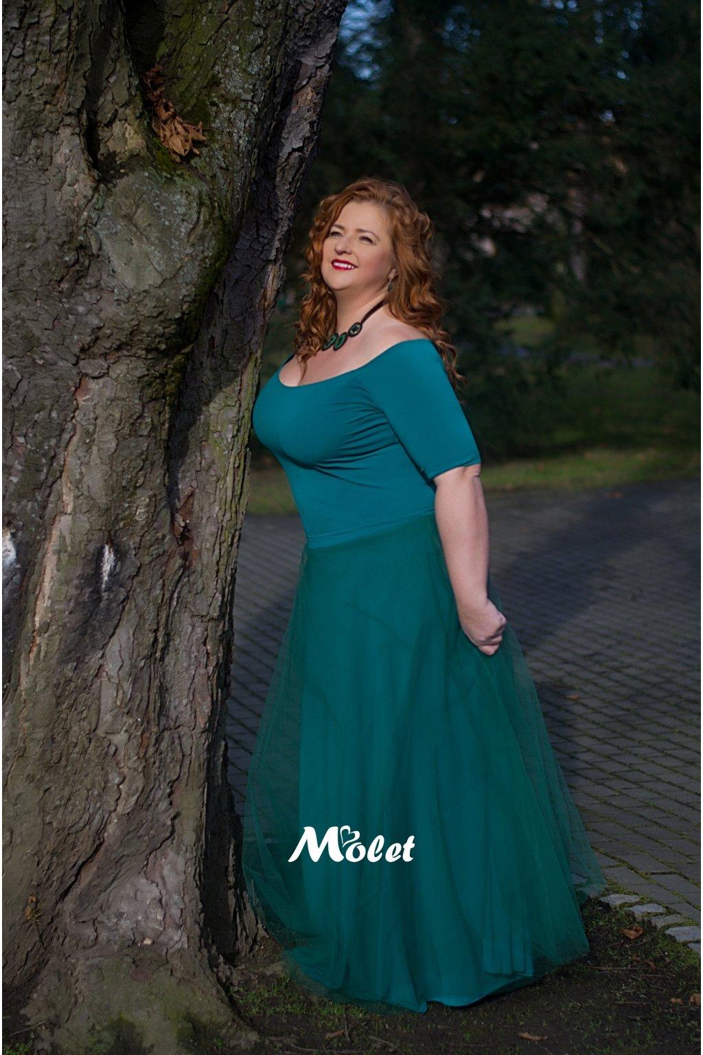 Tylová sukně dlouhá zelená