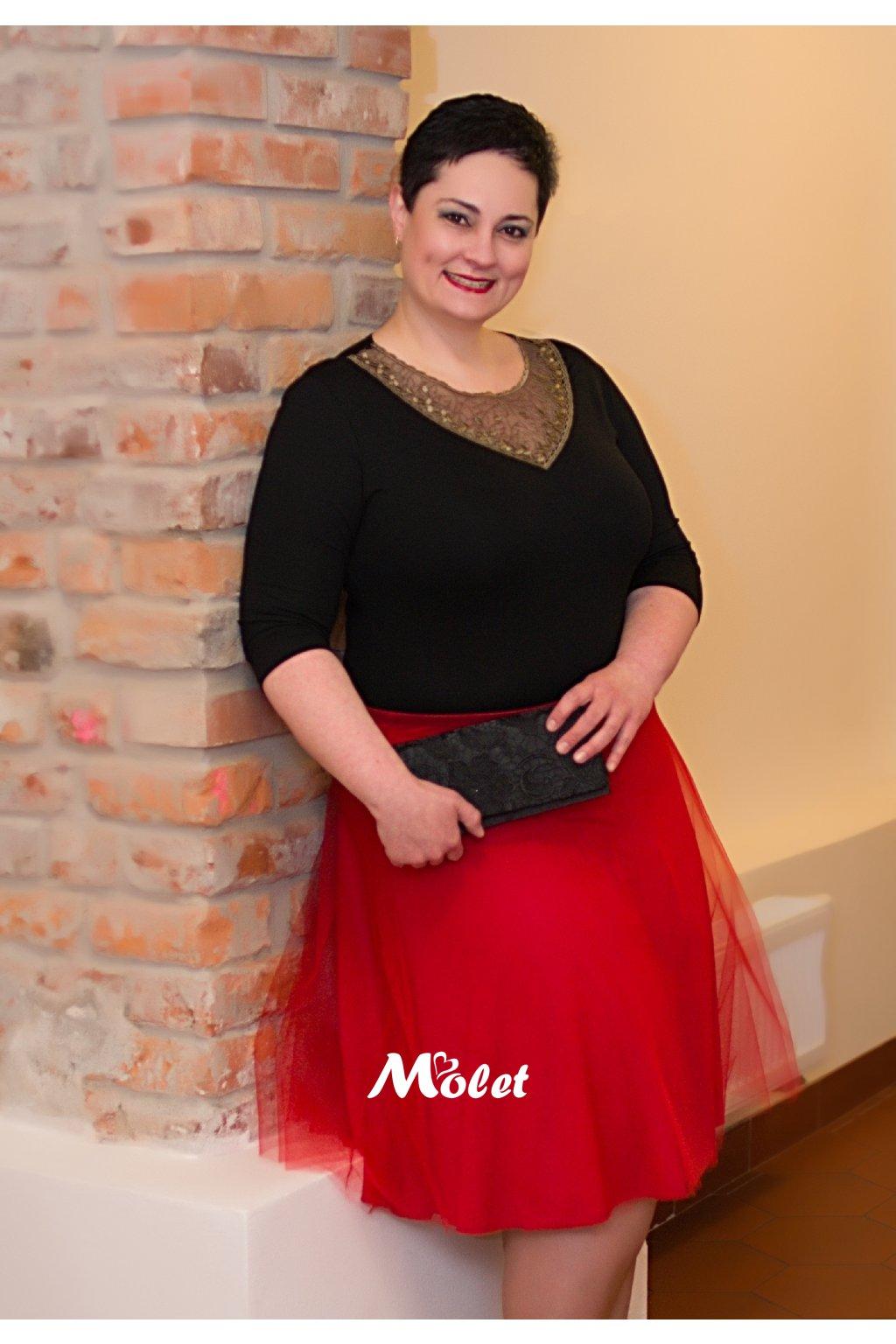 Tylová sukně krátká červená