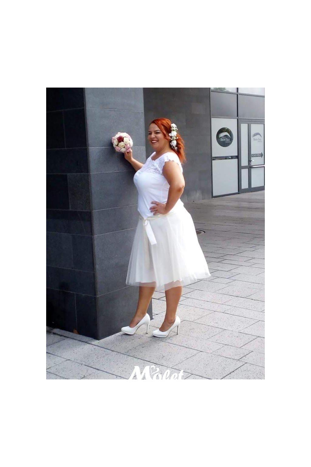 Tylová sukně krátká smetanová