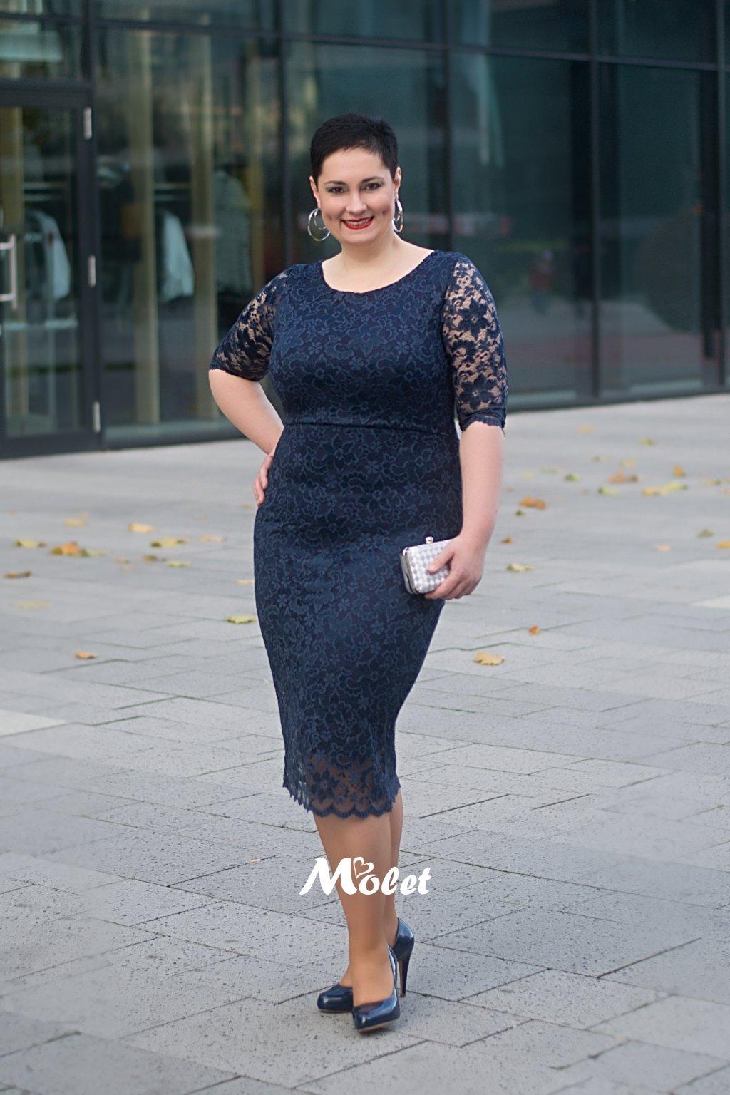 Adlib pouzdrové krajkové šaty modré
