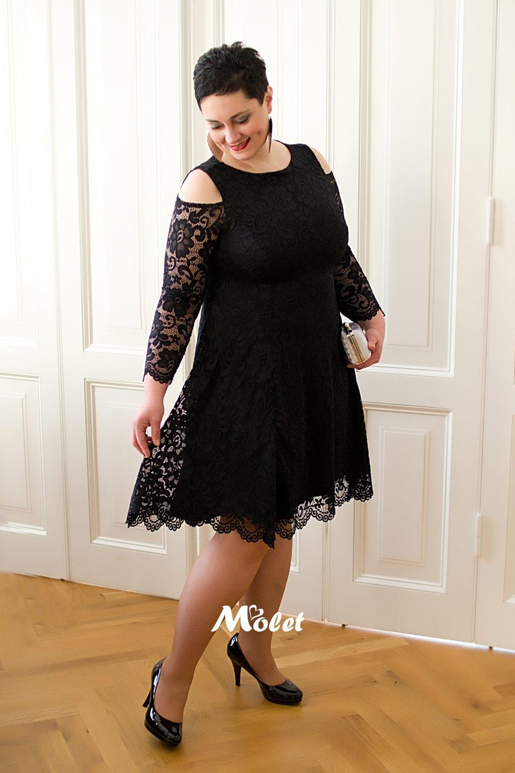 Pearl krajkové společenské šaty černé