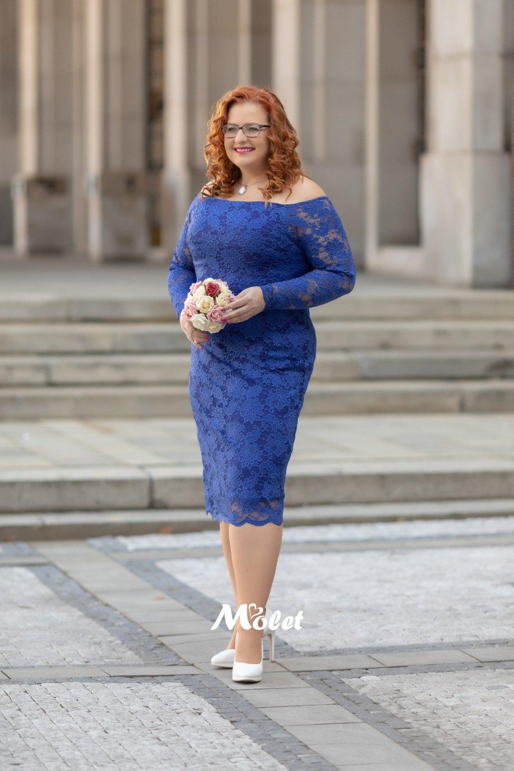 Orlando krajkové pouzdrové šaty modré