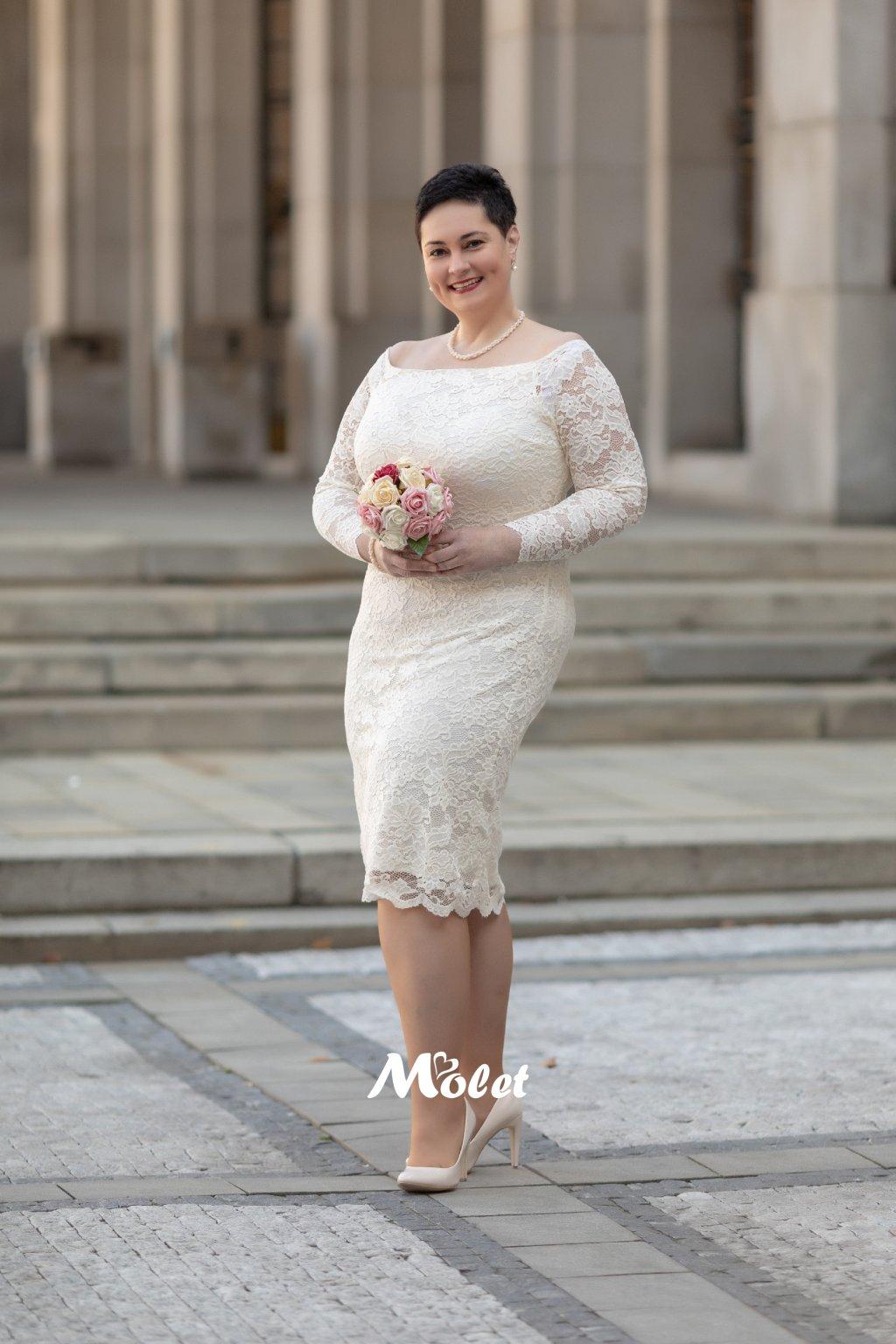 Orlando krajkové svatební šaty smetanové