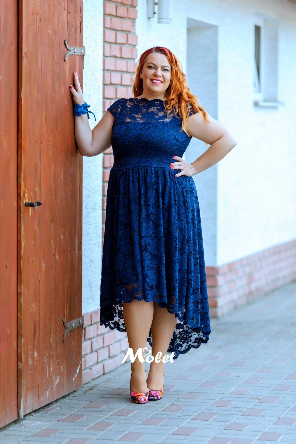 Fringe krajkové šaty modré