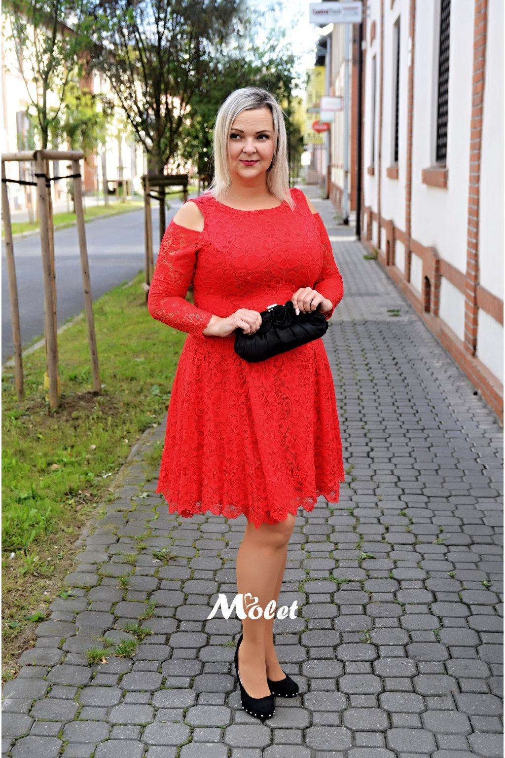Pearl krajkové šaty červené
