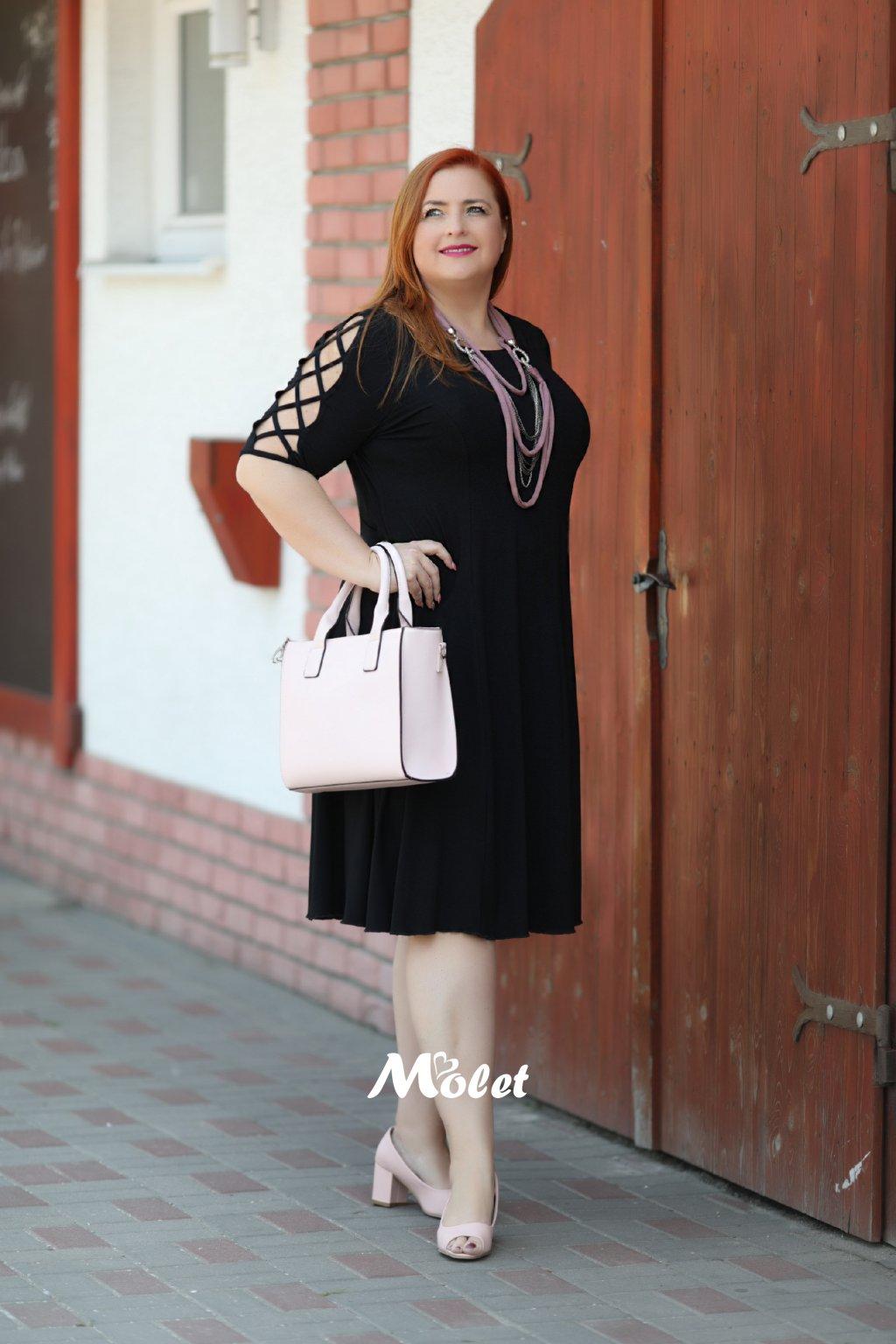 Ava černé šaty s ozdobnými rukávy